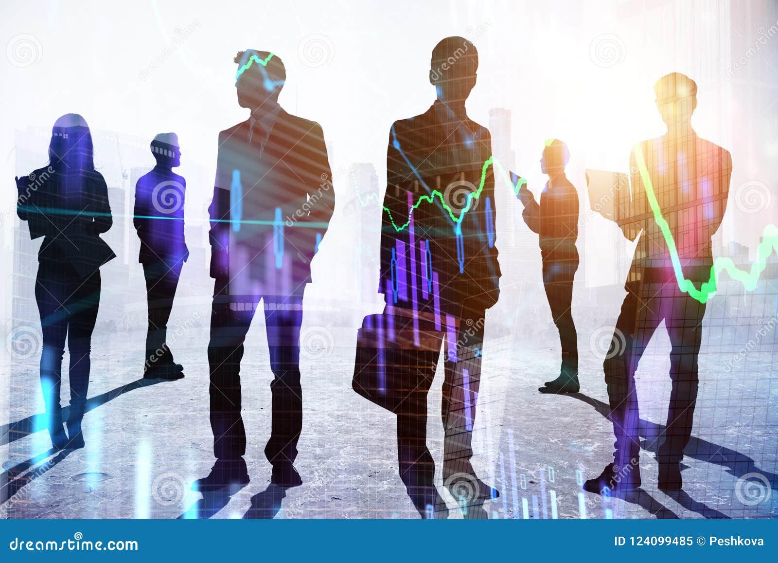 Concepto del trabajo en equipo y del comercio