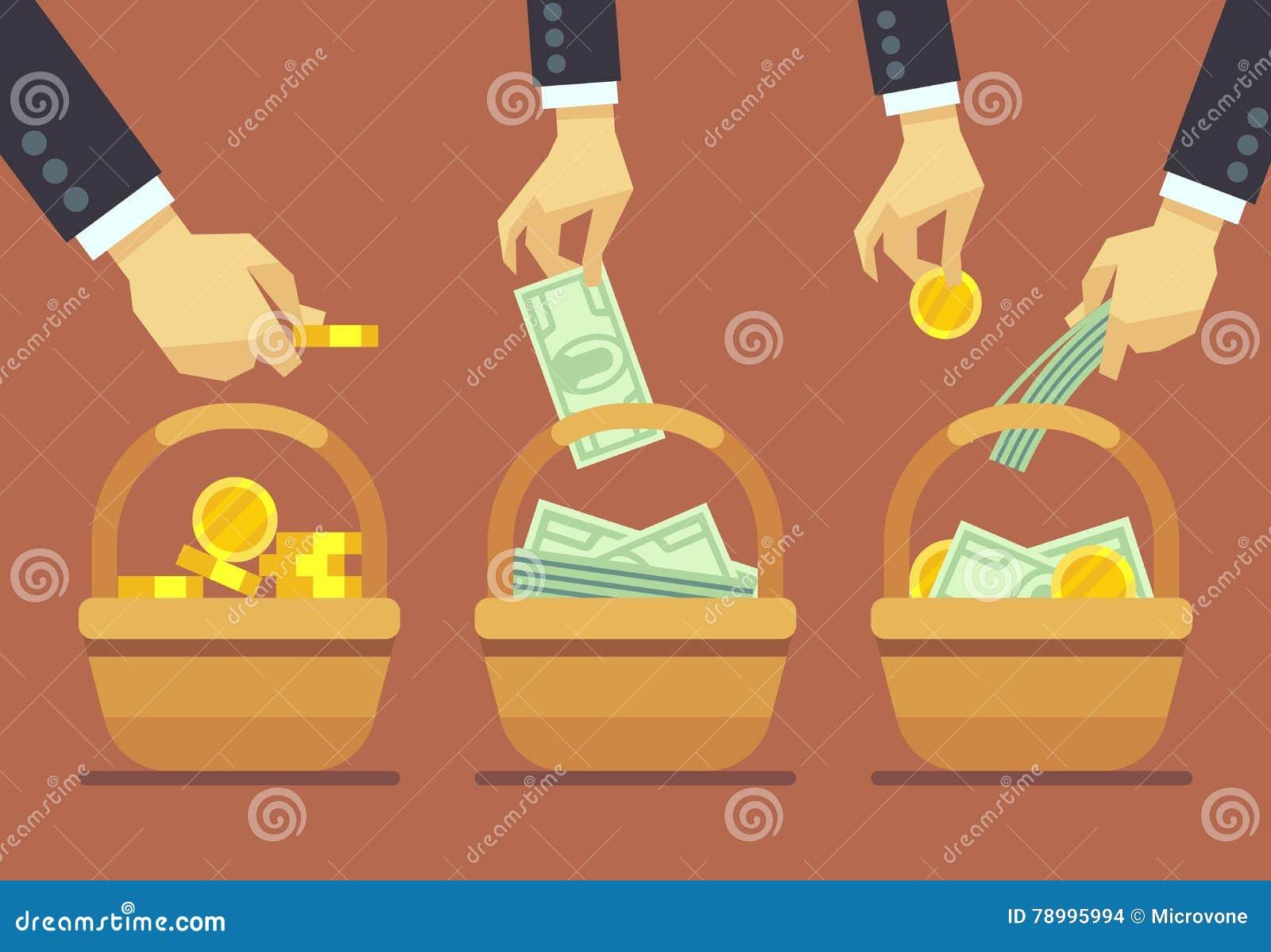 Concepto del vector de la diversificación del negocio No ponga todos sus huevos en una cesta