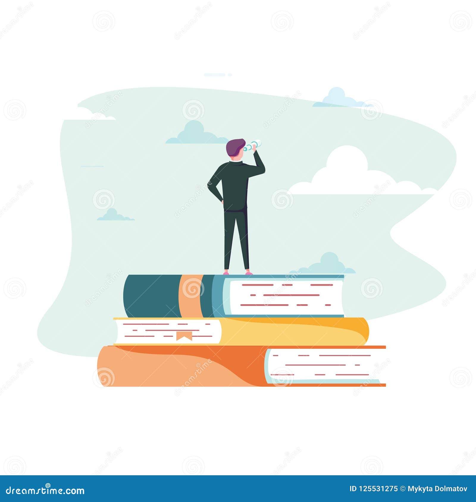 Concepto del vector de la educación Hombre de negocios o estudiante que se coloca en el libro que mira futuro Símbolo de la carre