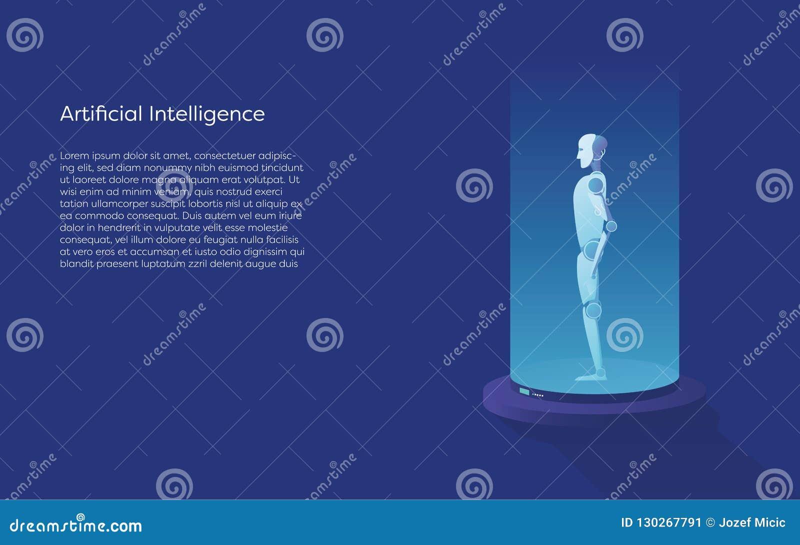 Concepto del vector de la inteligencia artificial con la creación del robot del ai Símbolo de la tecnología, futuro digital, inno