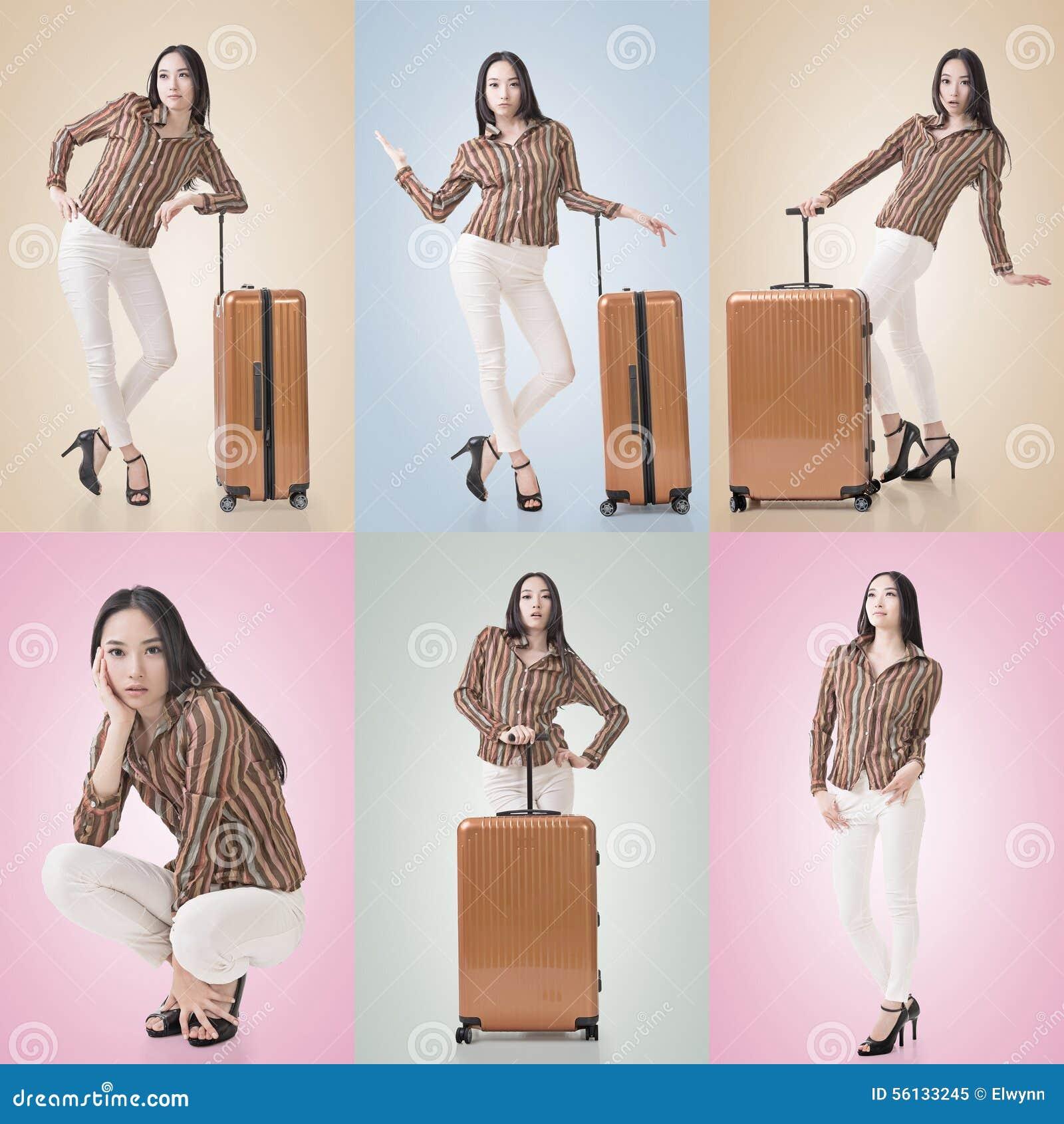 Concepto del viaje con belleza asiática