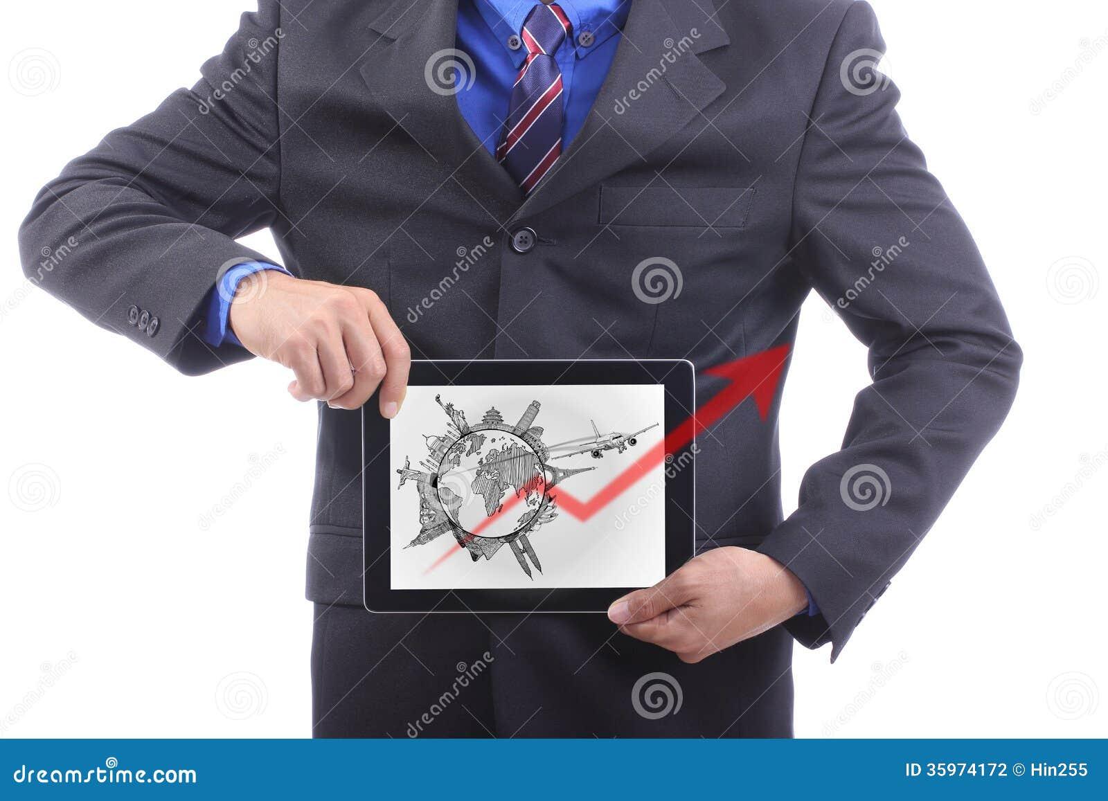 Concepto del viaje de Show del hombre de negocios en todo el mundo