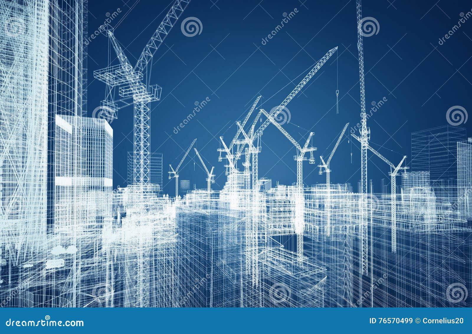 Concepto del wireframe de la construcción