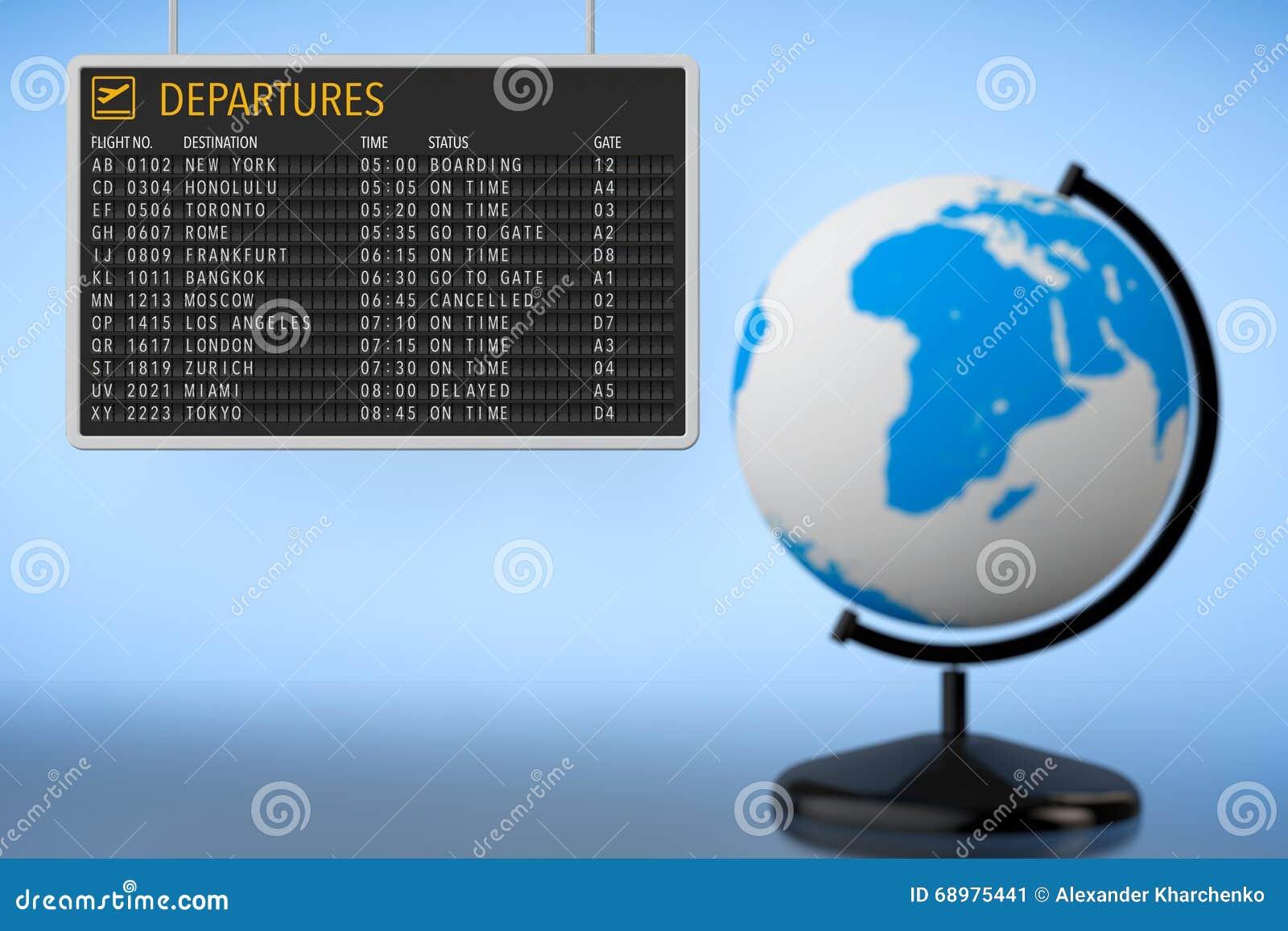 Concepto del World Travel Tablero de las salidas del aeropuerto con el globo de la tierra