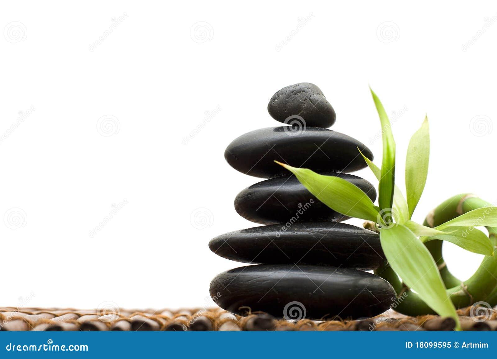 Concepto del zen con el bamb y la piedra imagen de Fotos piedras zen