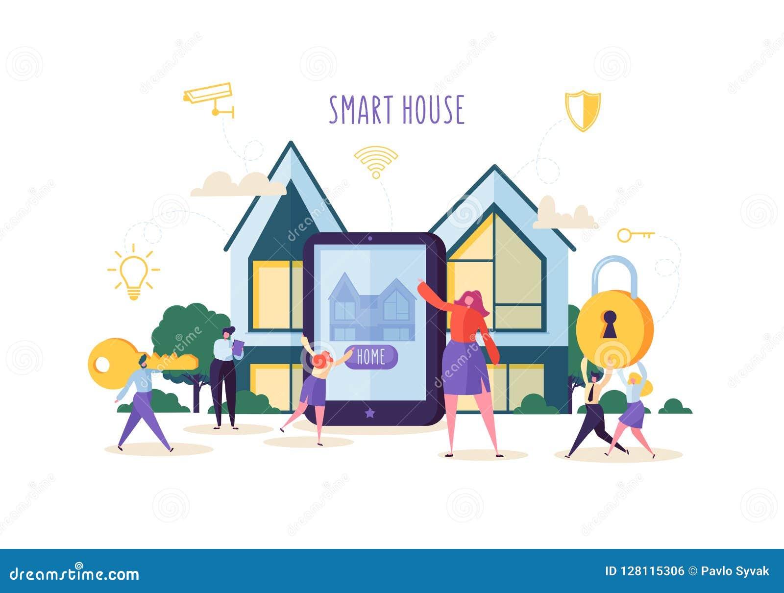 Concepto elegante de la tecnología de la casa Caracteres de la gente que controlan Sequrity casero y energía del poder con el App