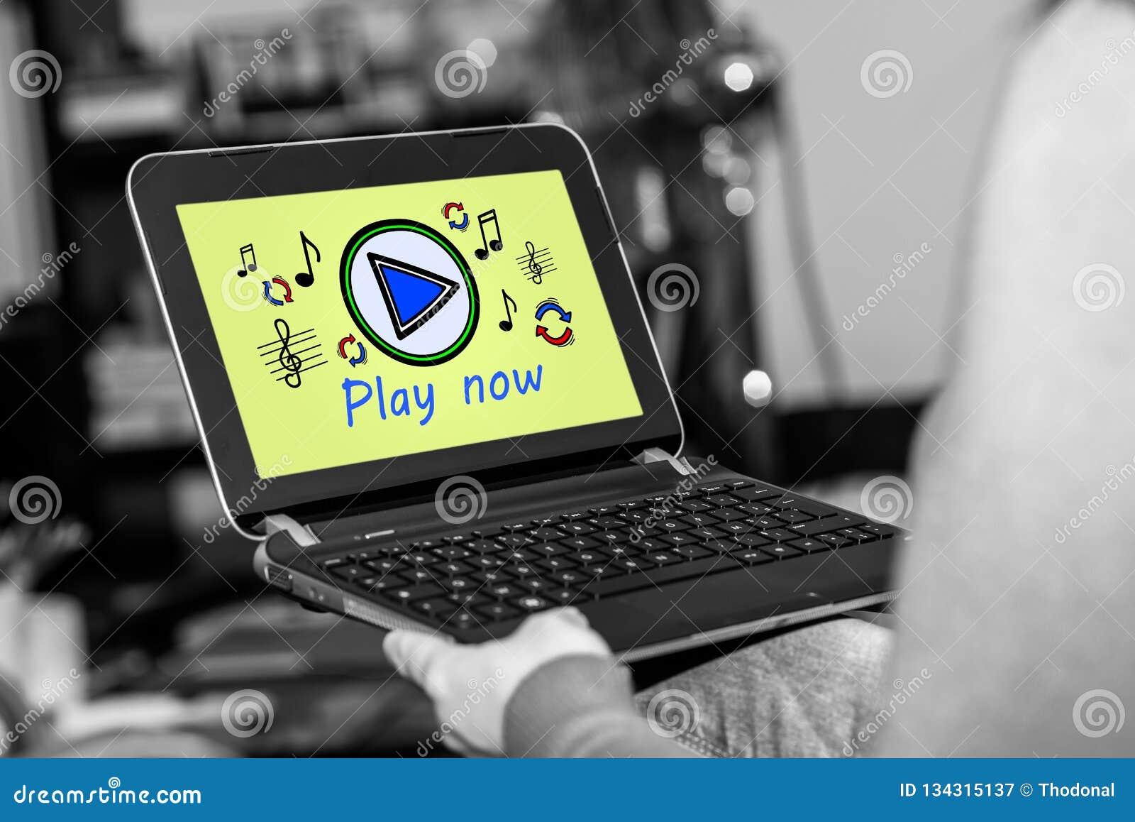 Concepto en línea de la música en una tableta
