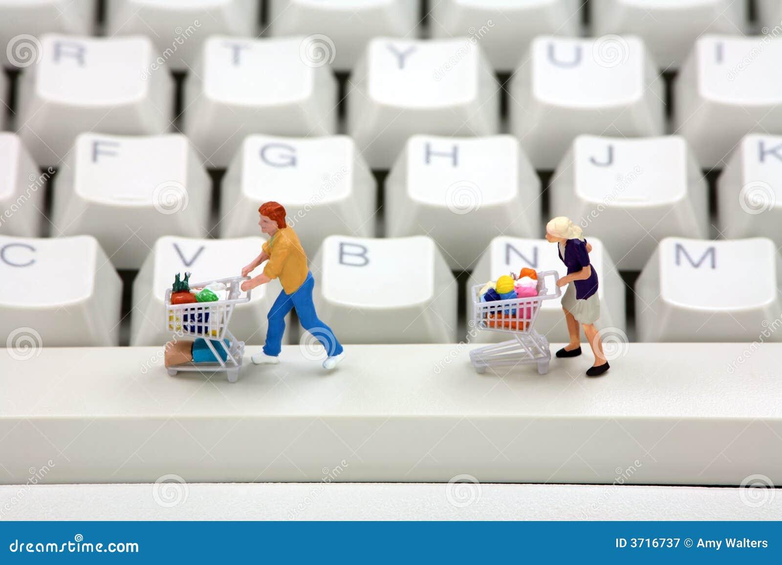 Concepto en línea de las compras.
