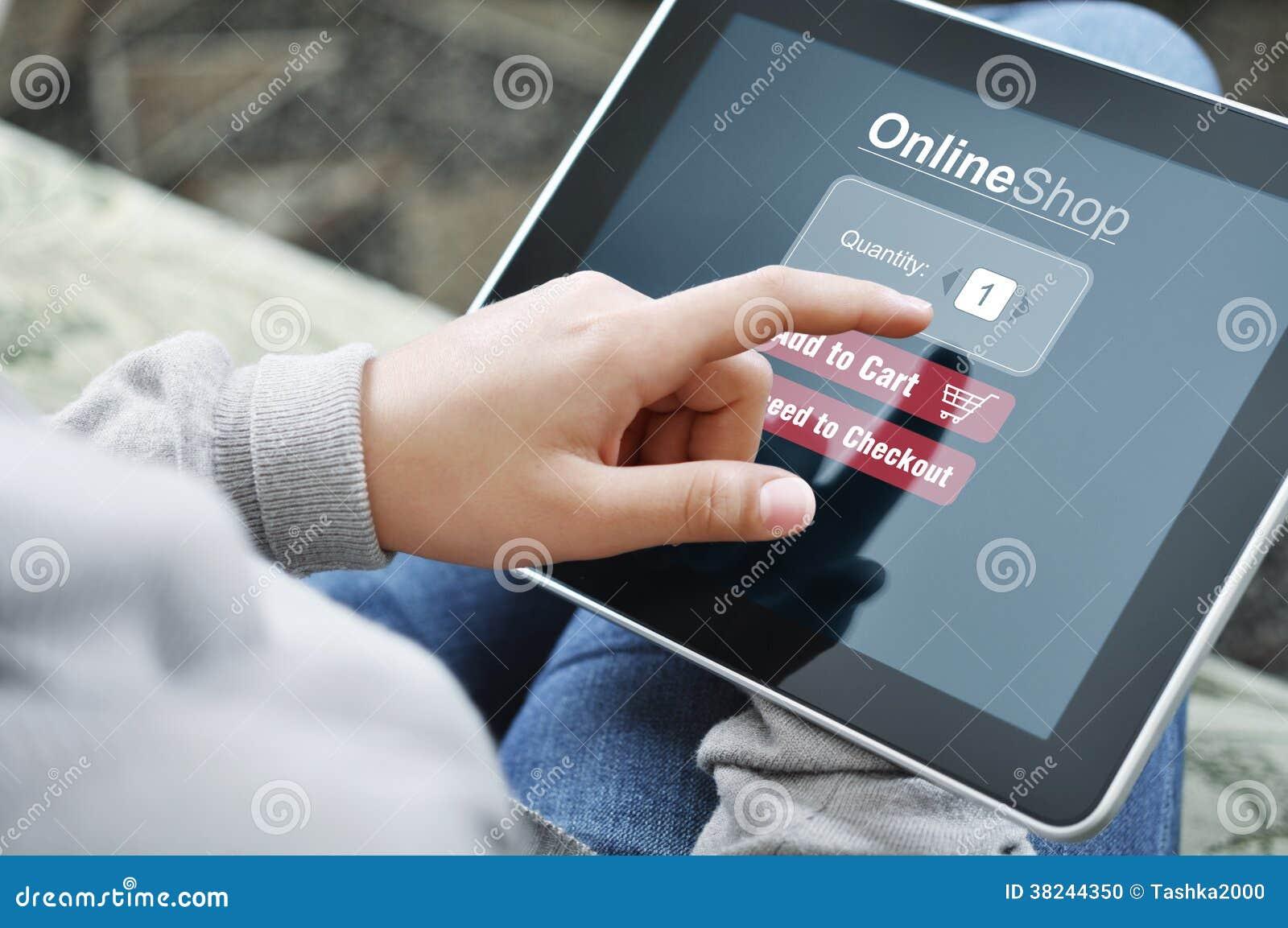 Concepto en línea de las compras