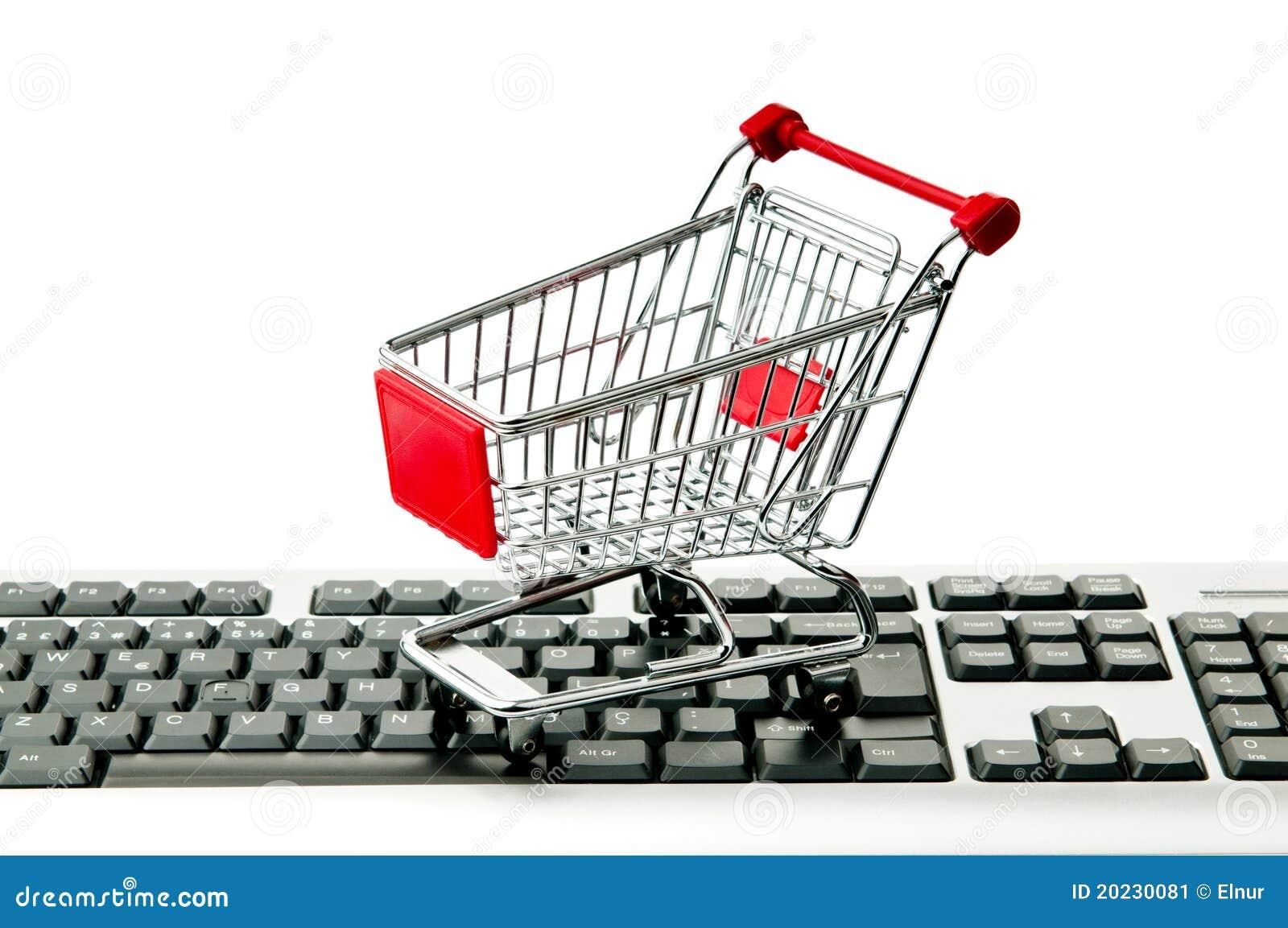 Concepto en línea de las compras del Internet con el ordenador
