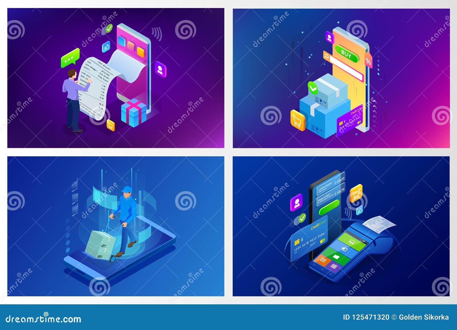 Concepto en línea de las compras del vector isométrico Plantilla de aterrizaje de la página Diseño ultravioleta moderno para una