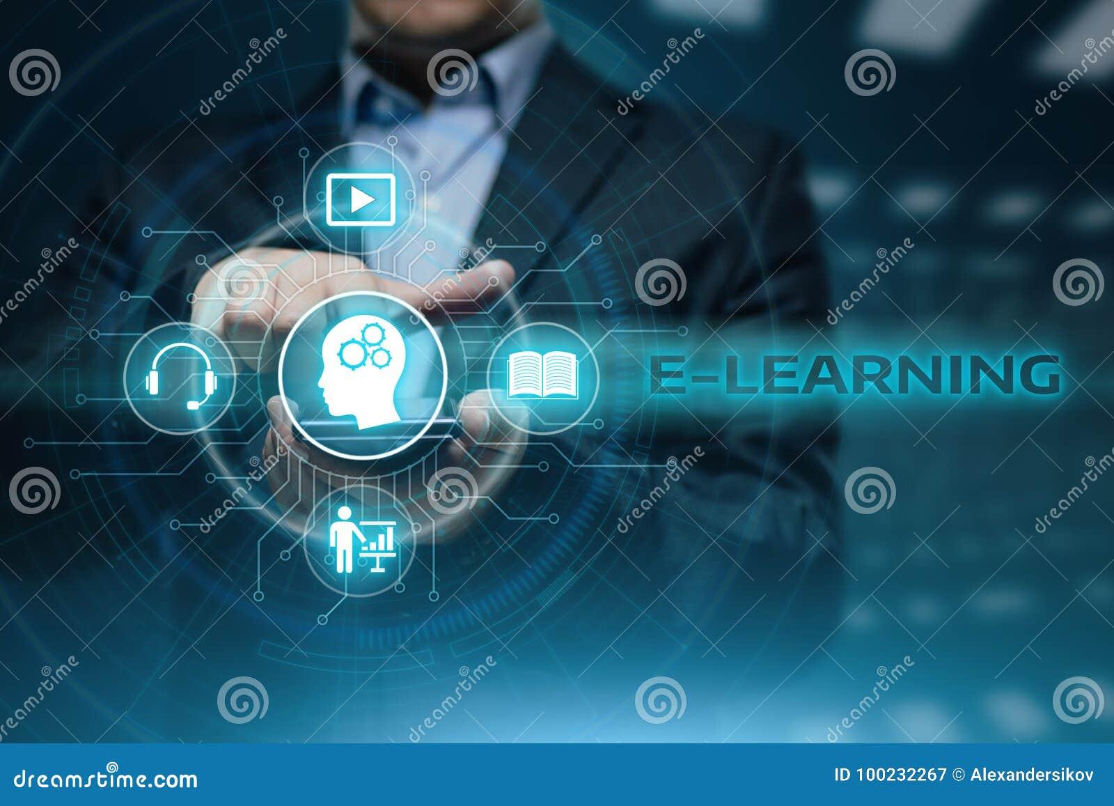 Concepto en línea de los cursos de Webinar de la tecnología de Internet de la educación del aprendizaje electrónico