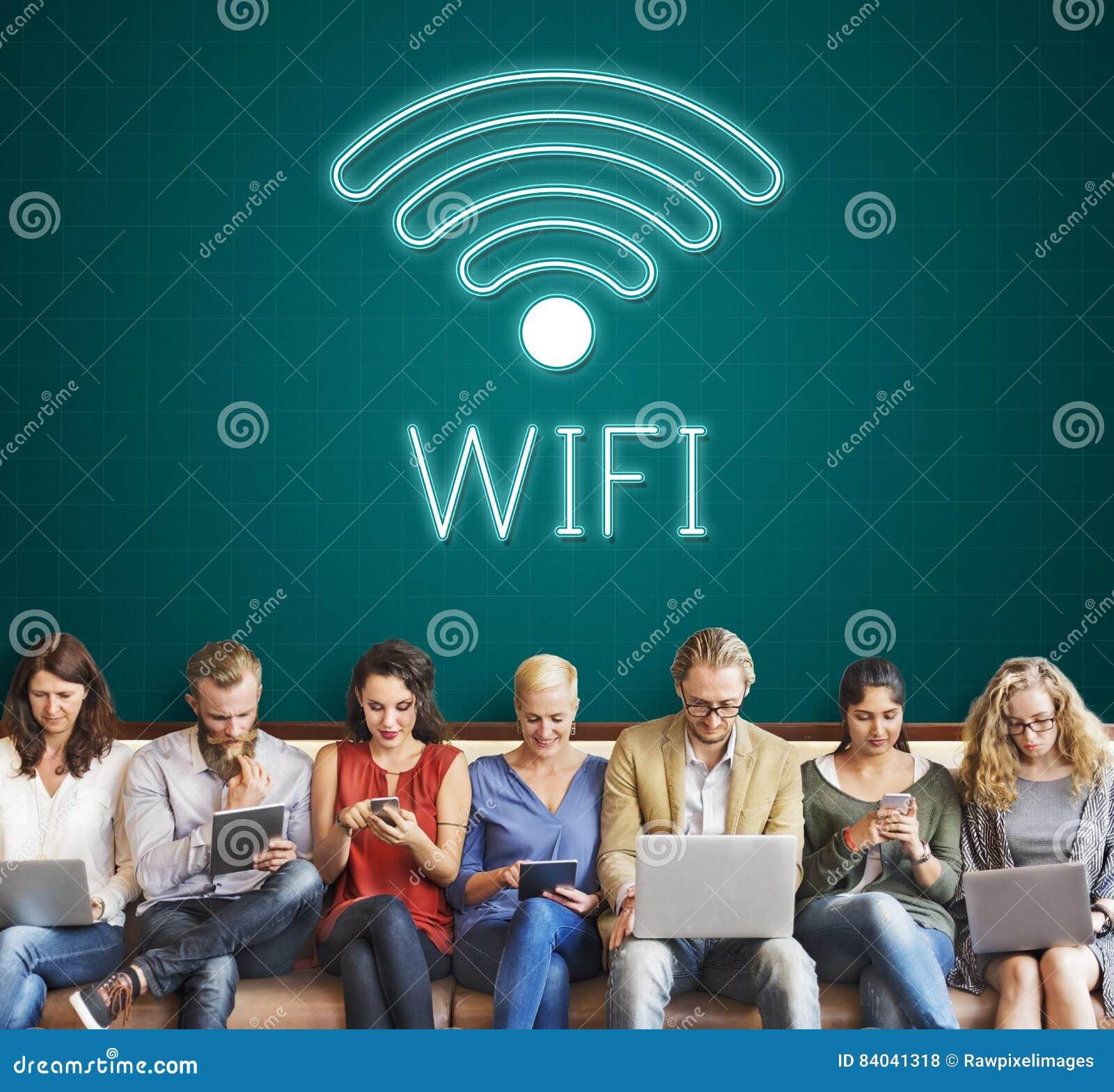 Concepto en línea del icono de la comunicación de Wifi de la red