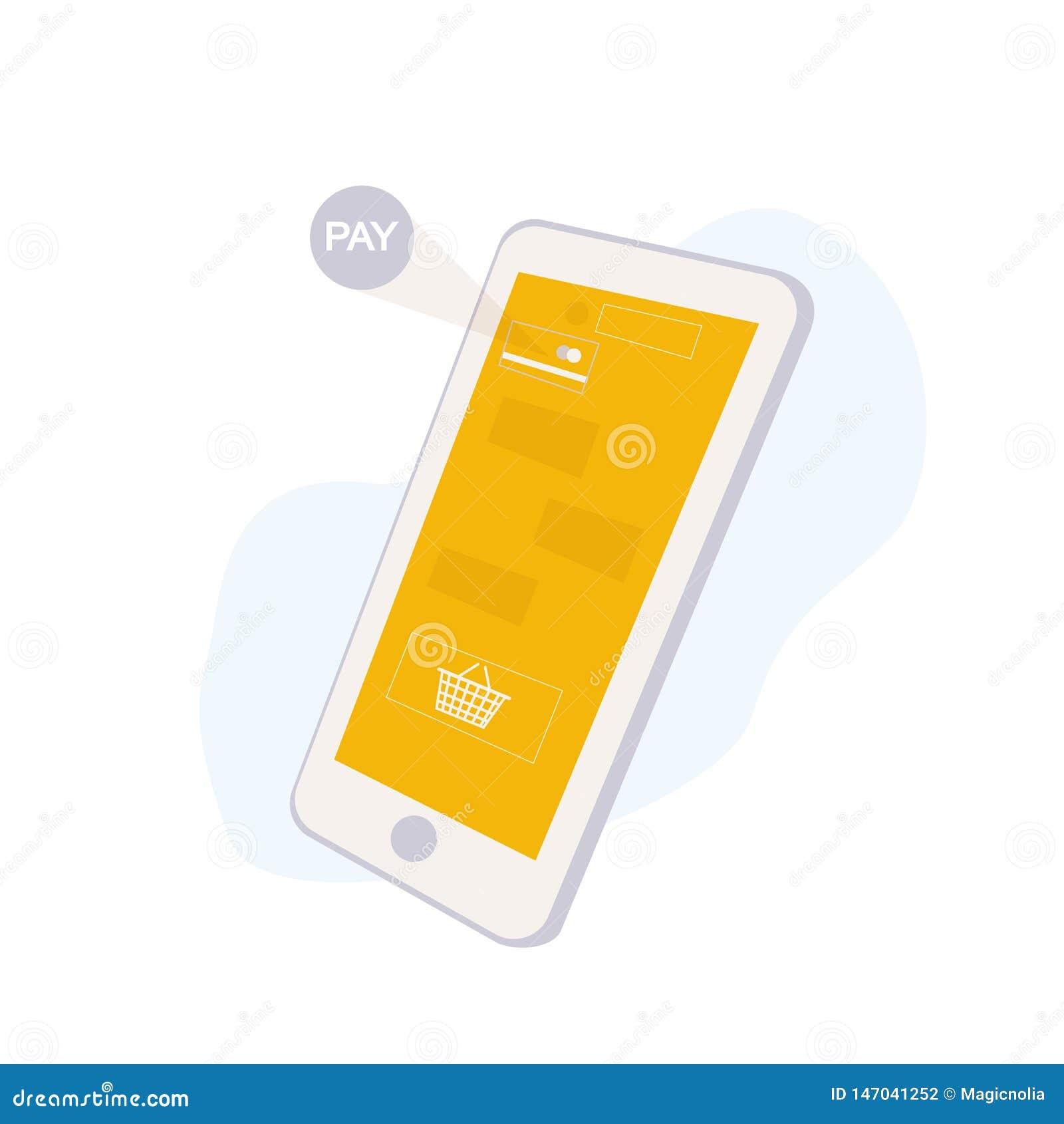 Concepto en línea del servicio que hace compras con Smartphone Interfaz de la aplicación móvil con la cesta y pagar de compras ic