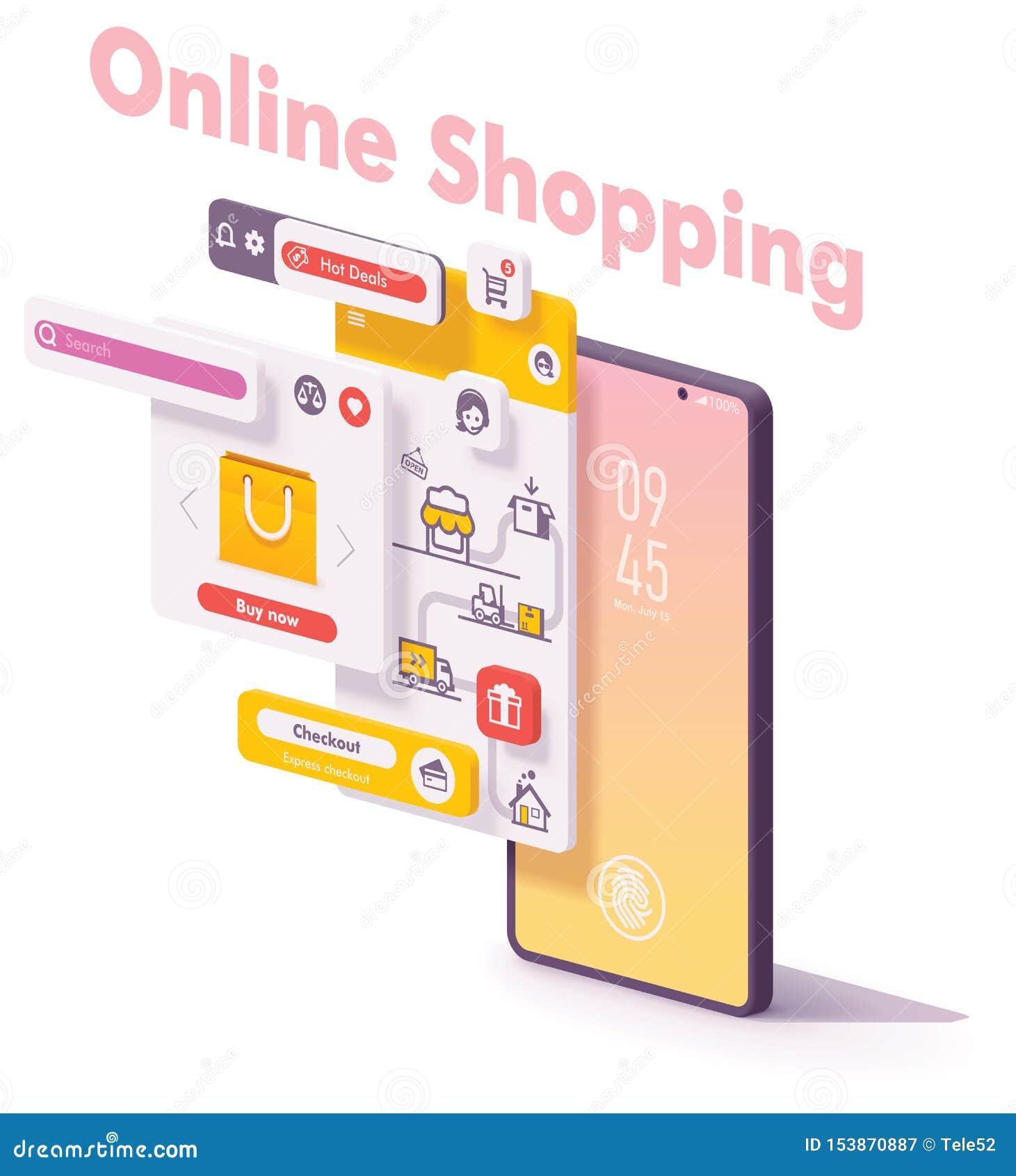 Concepto en línea móvil del app del vector que hace compras
