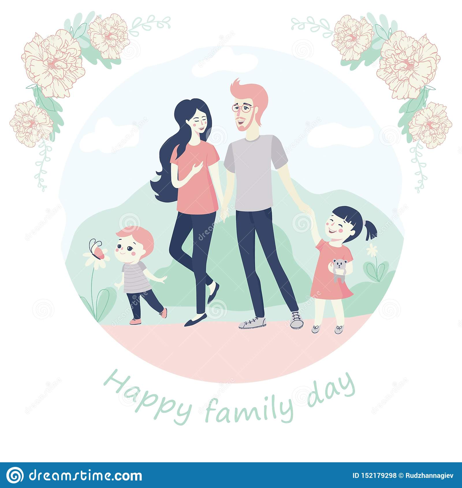 Concepto feliz del día de la familia con una familia joven con los niños, pequeño hermano y hermana, caminando de común acuerdo c