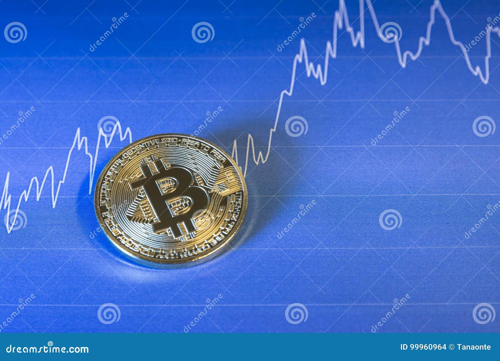 Concepto financiero del crecimiento con Bitcoins de oro en fondo de la carta