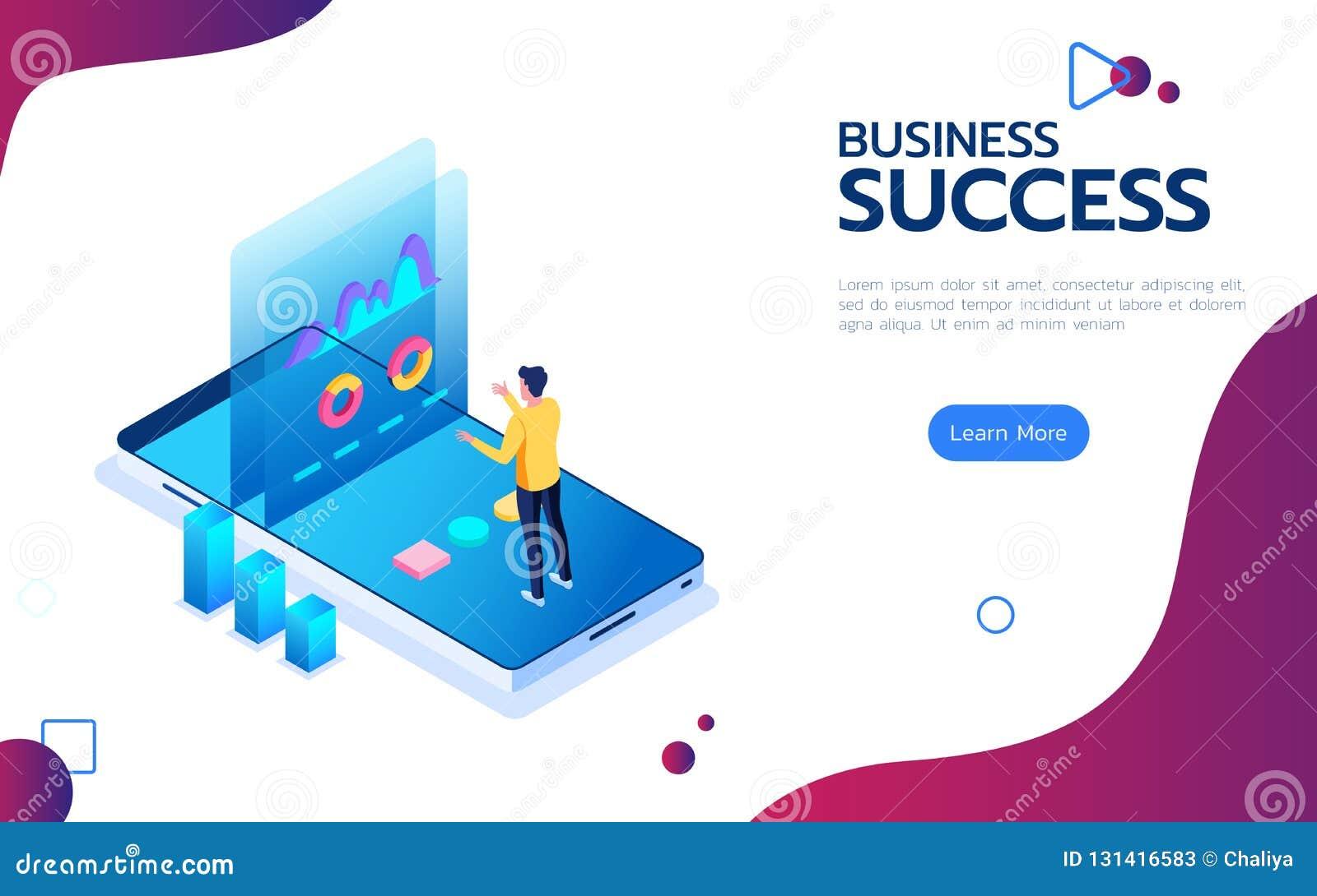Concepto financiero isométrico del éxito Soporte del hombre de negocios en smartphone delante de la pantalla para hacer el pico d