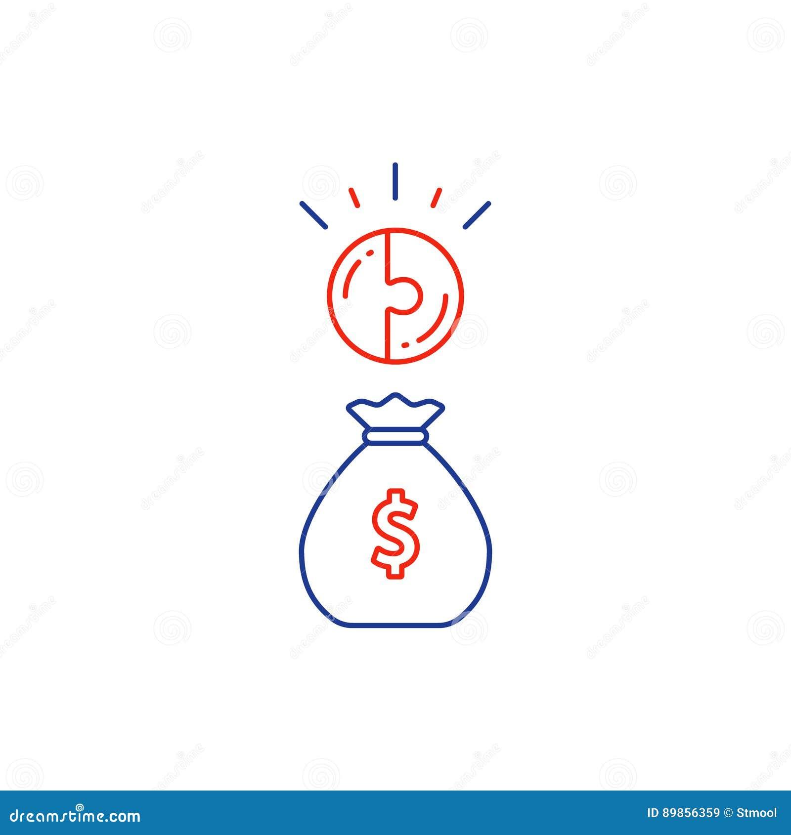 Concepto financiero, plan del presupuesto, bolso del dinero, línea de interés compuesto icono