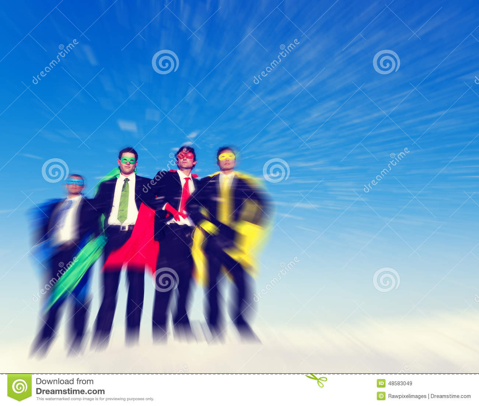 Concepto fuerte del éxito de la confianza de las aspiraciones del negocio del super héroe