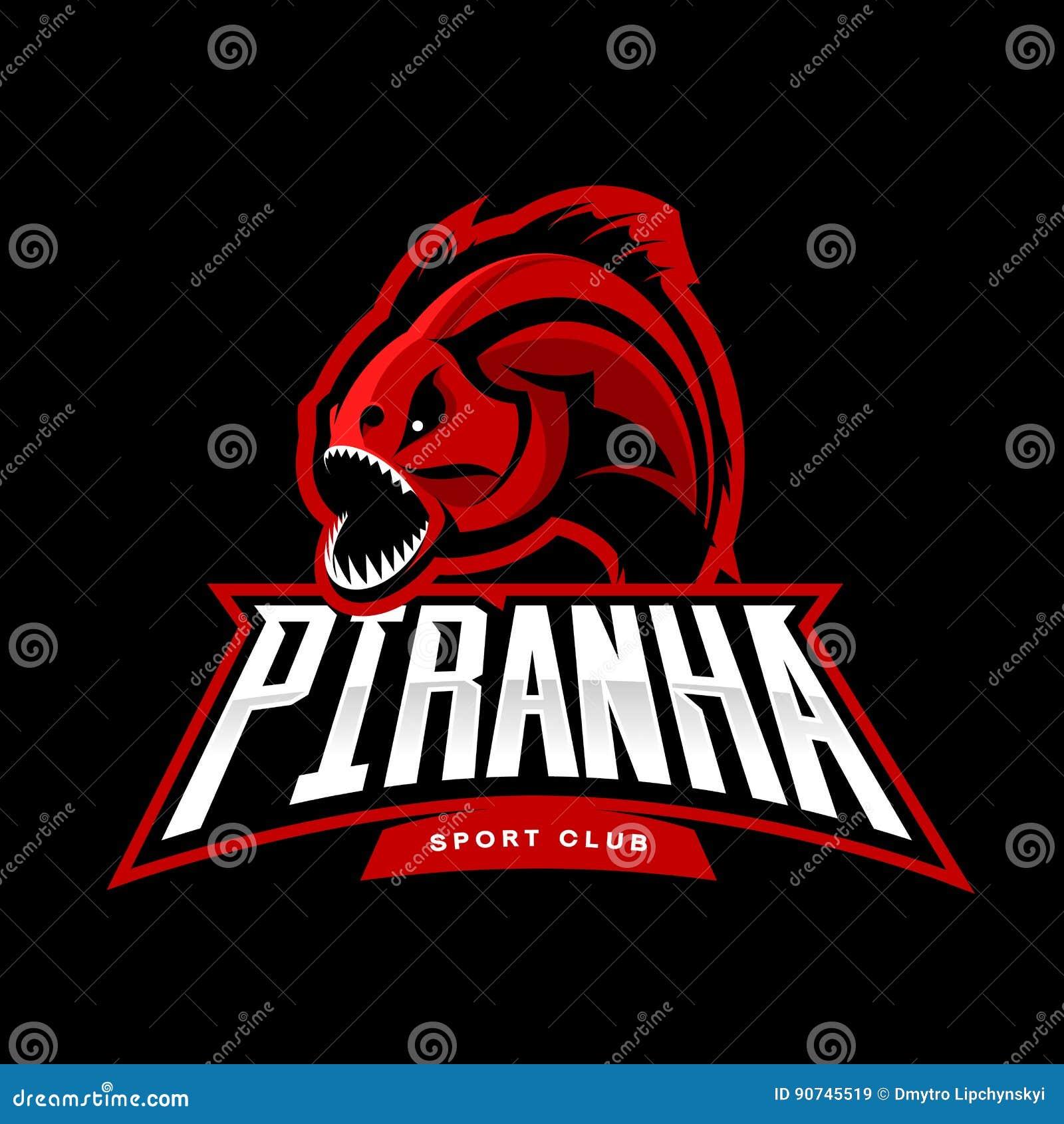 Concepto furioso del logotipo del vector del deporte de la piraña aislado en fondo negro