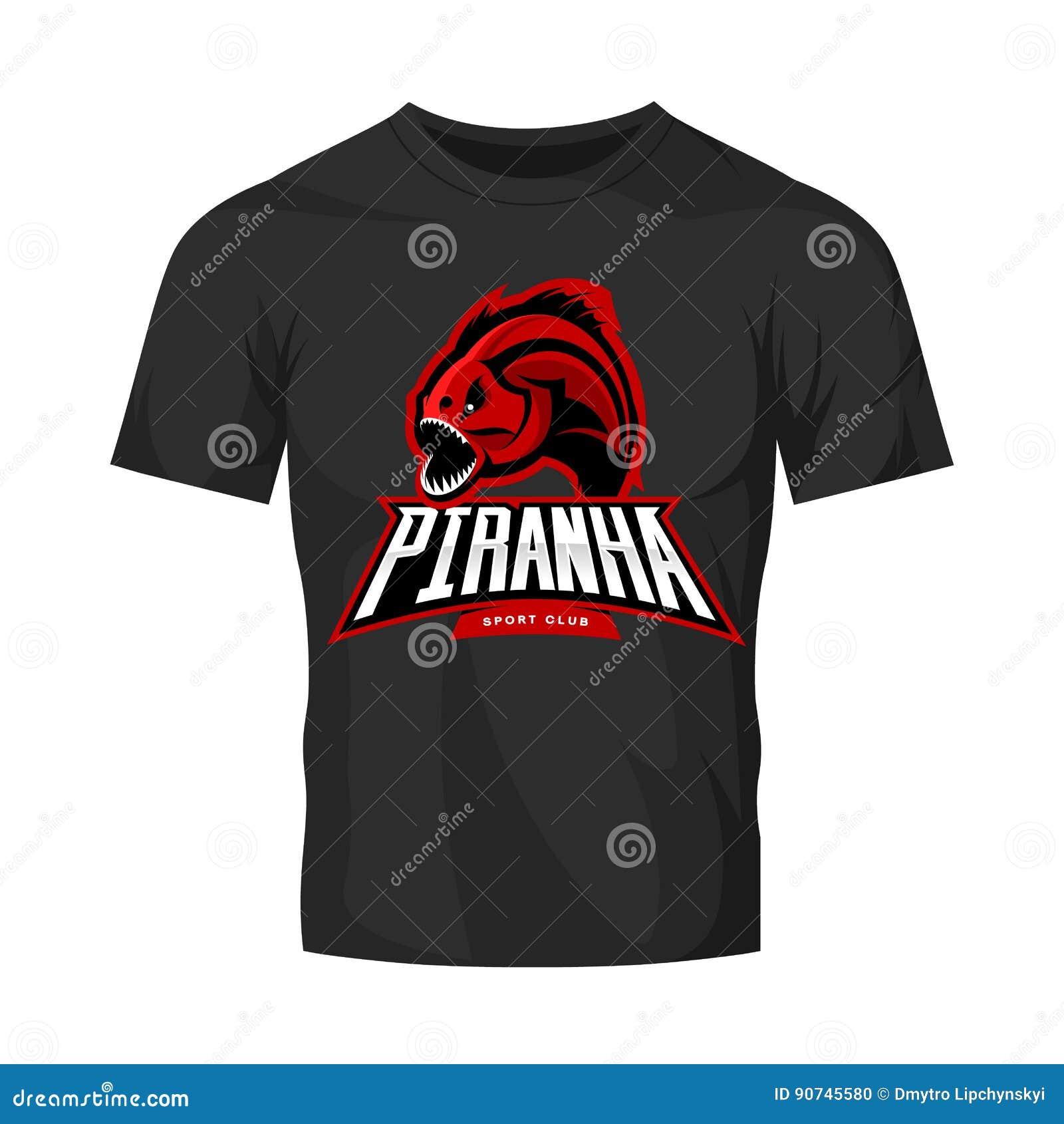 Concepto furioso del logotipo del vector del deporte de la piraña aislado en maqueta negra de la camiseta