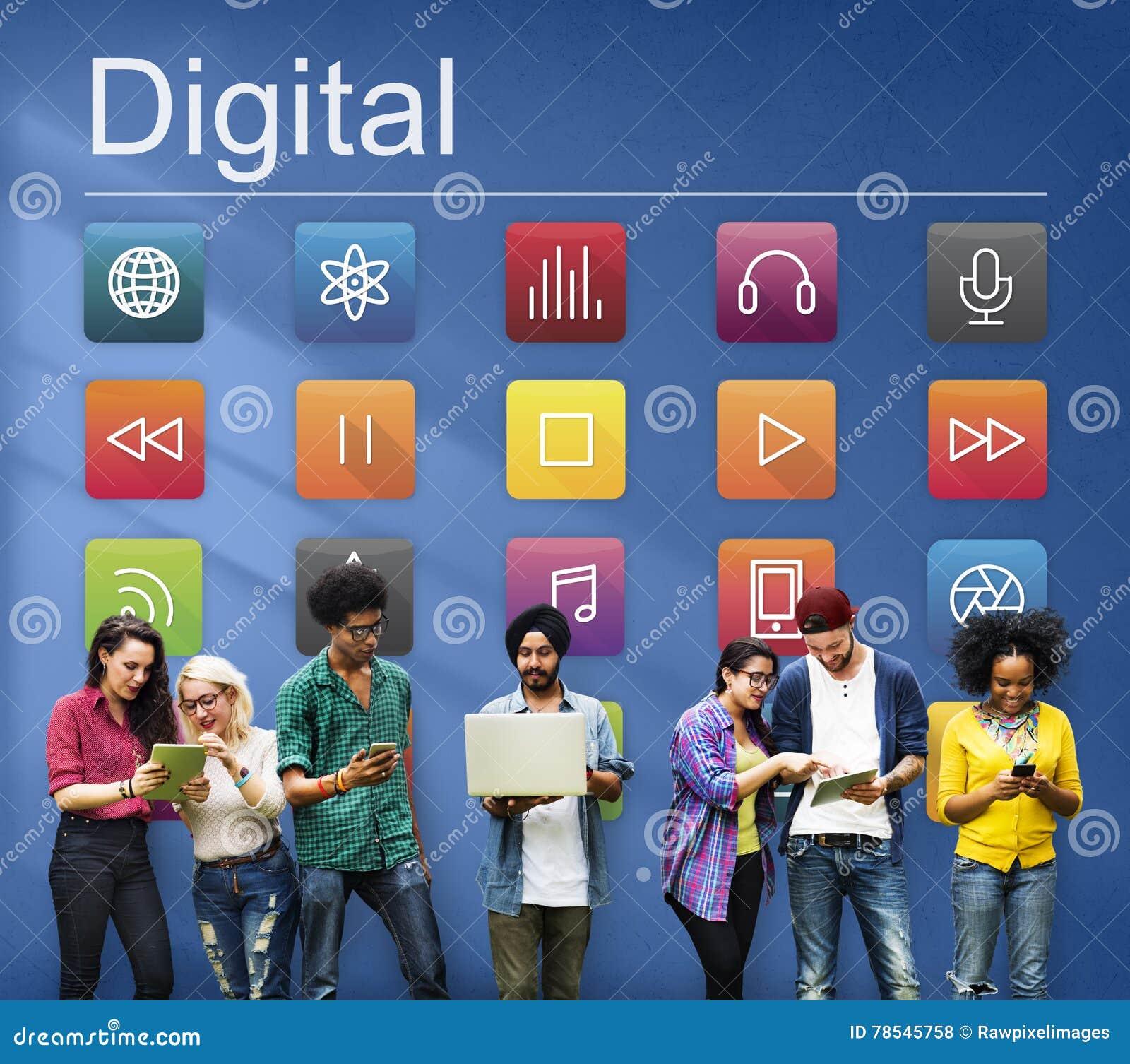 Concepto futurista del contenido de Digitaces de la conexión de las multimedias
