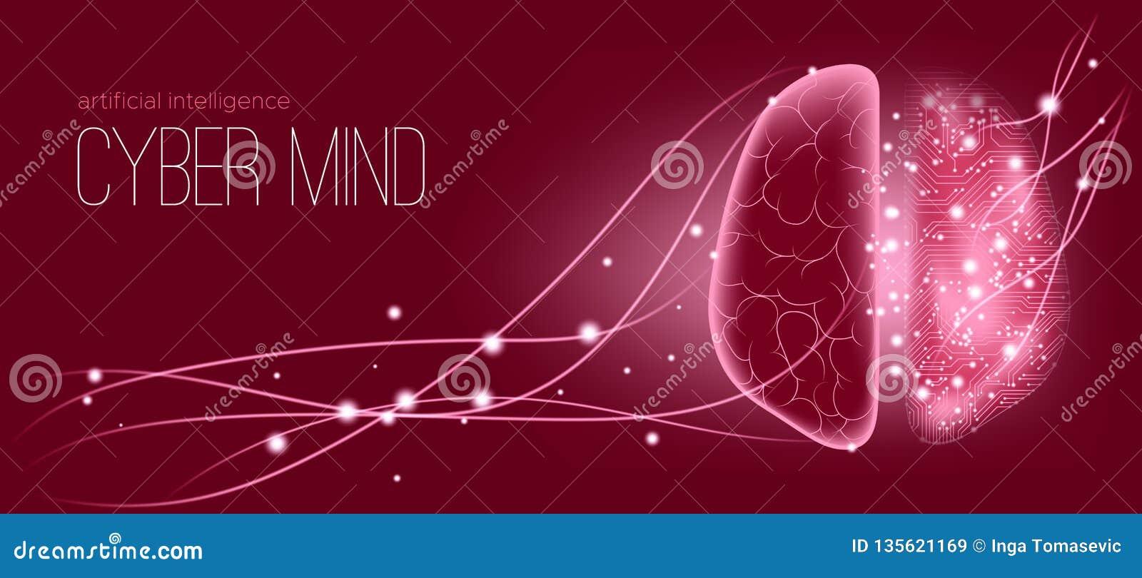 Concepto futurista del resplandor de la mente cibernética