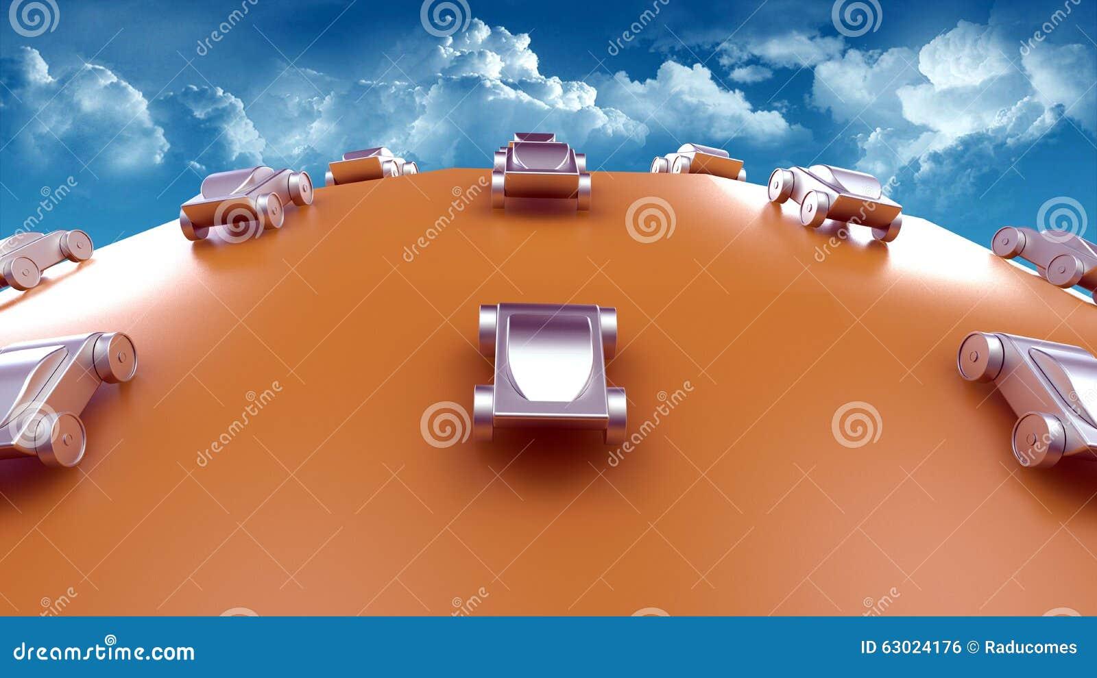 Concepto futurista del viaje y del transporte