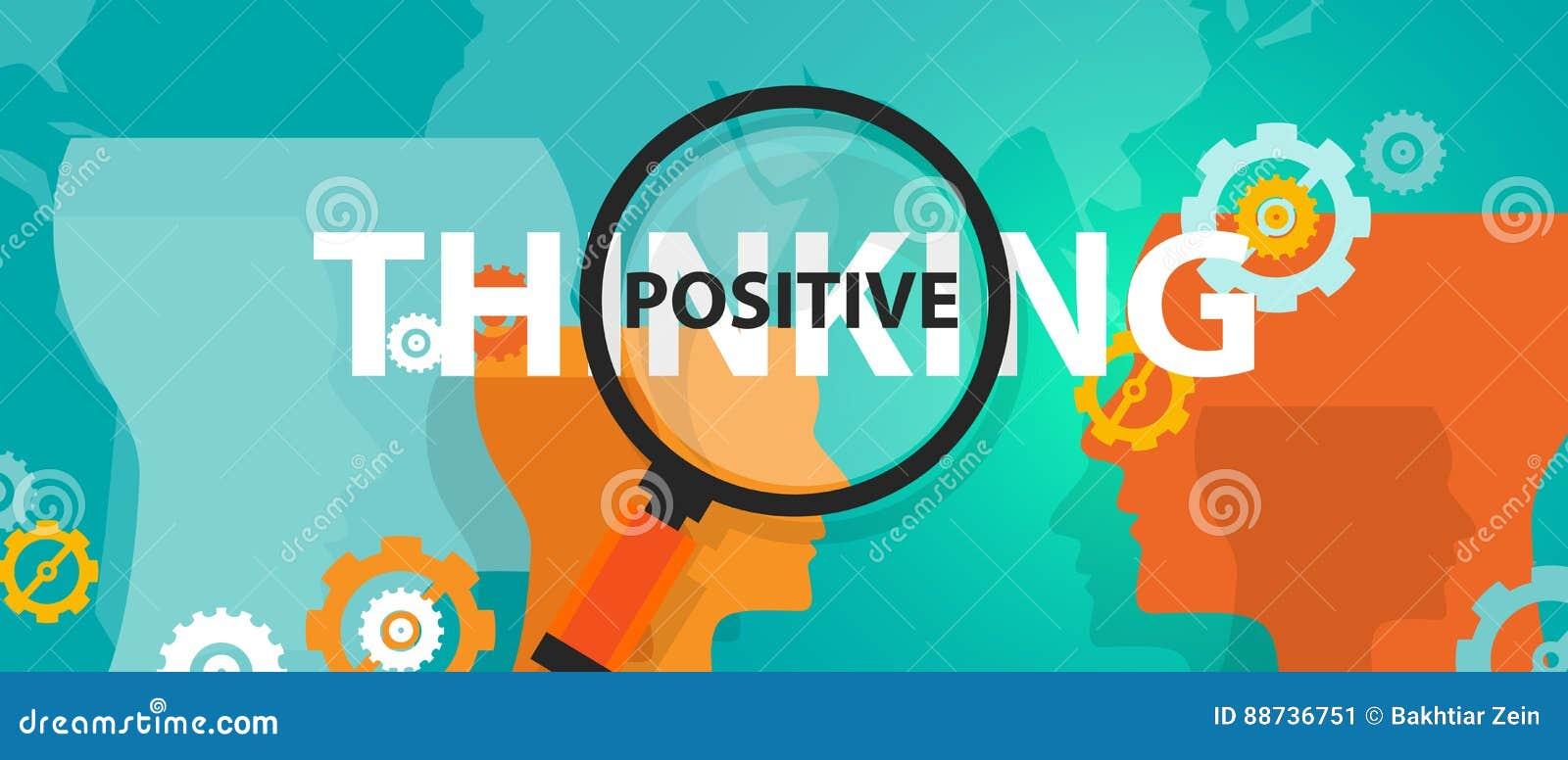 Concepto futuro de pensamiento positivo del foco de la actitud de la positividad de pensamientos de pensamiento del modo de pensa