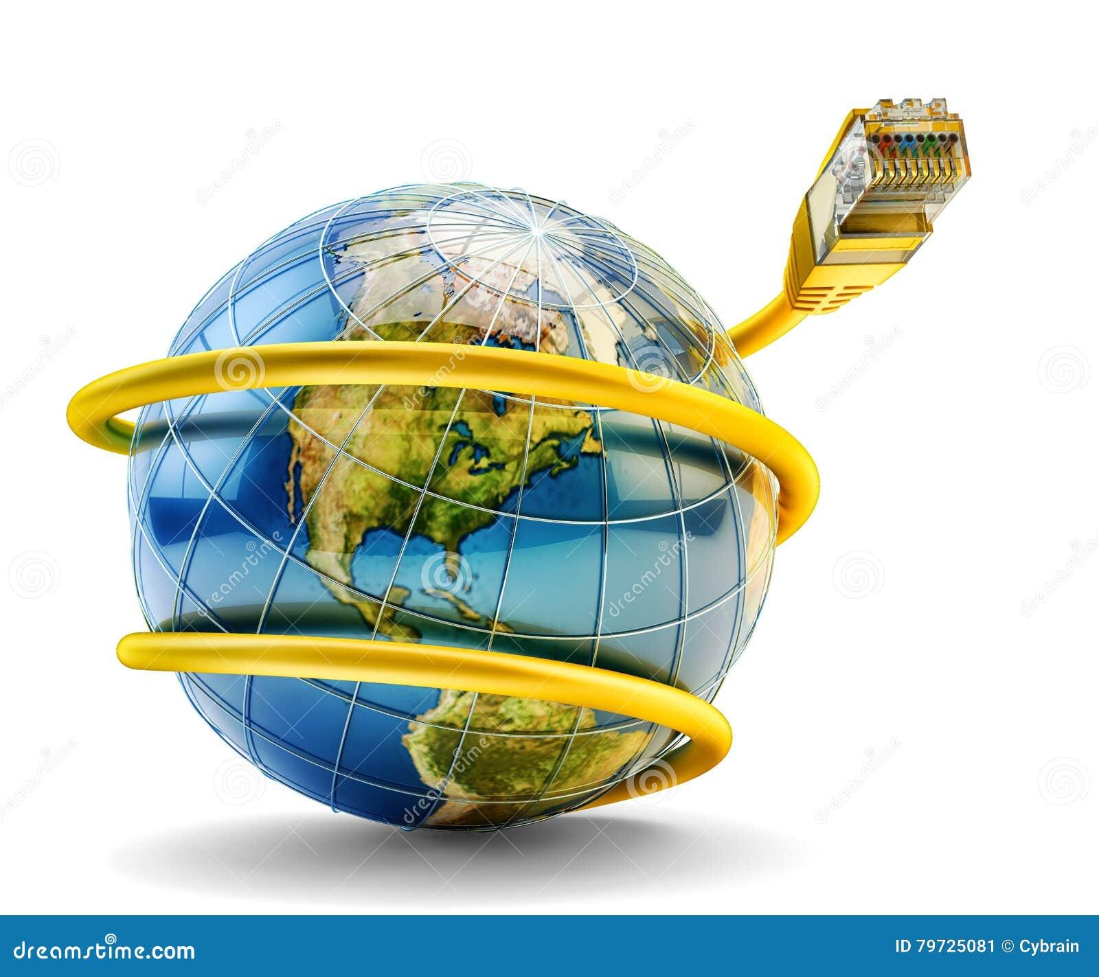 Concepto global de la comunicación de Internet y de la conexión de red