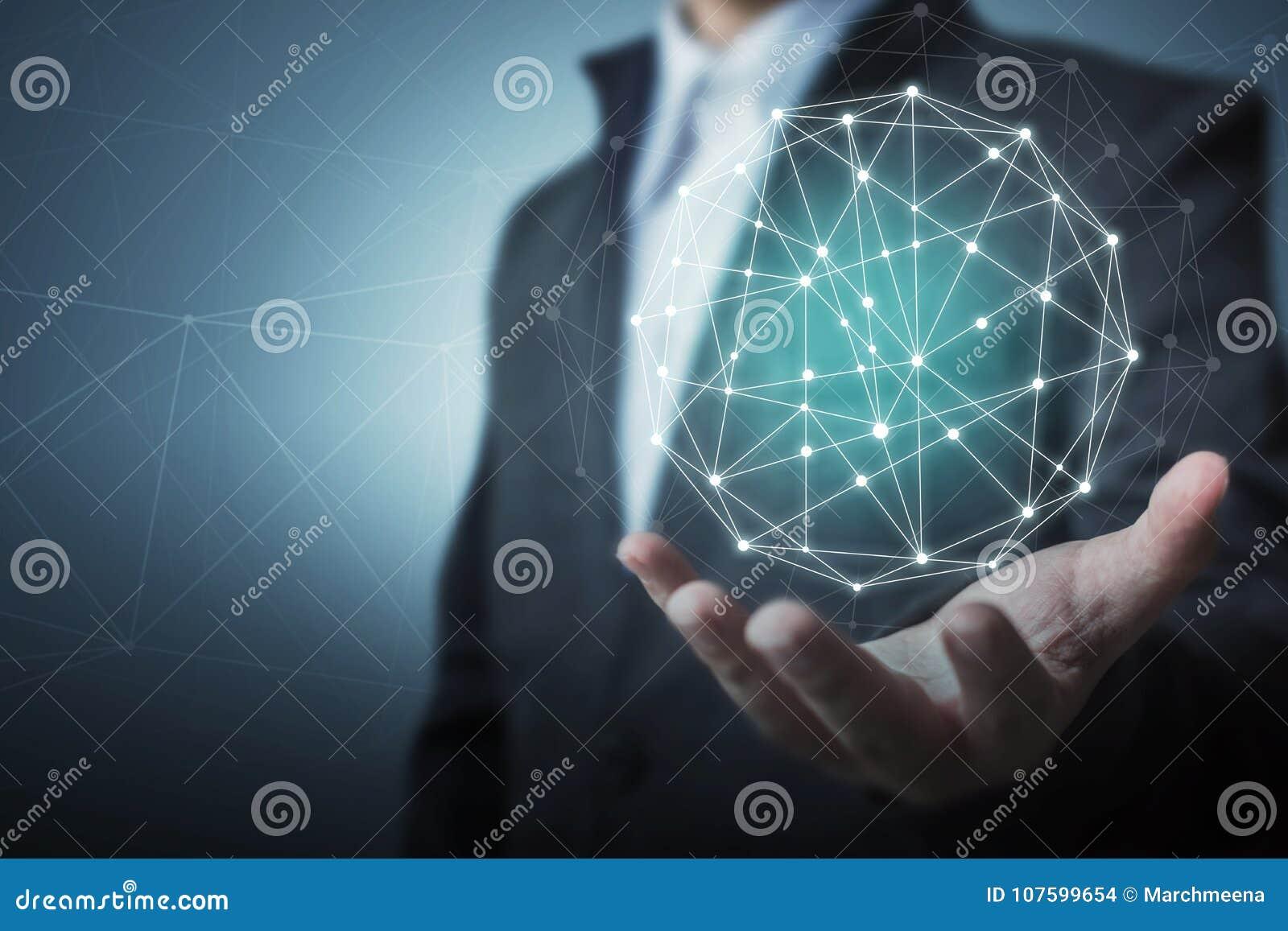 Concepto global de la conexión de red del círculo del negocio