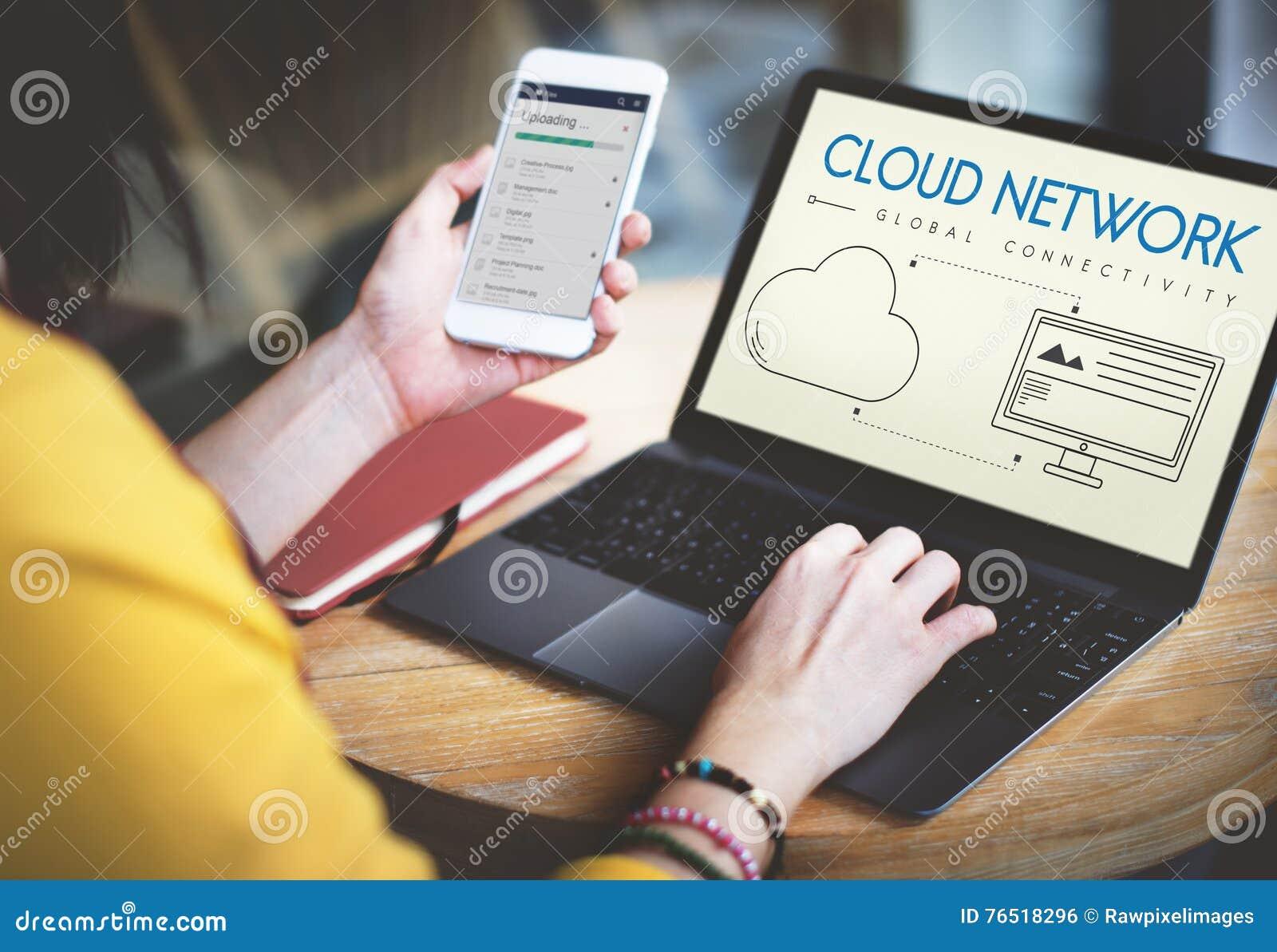 Concepto global de la parte de la conectividad de la red de la nube