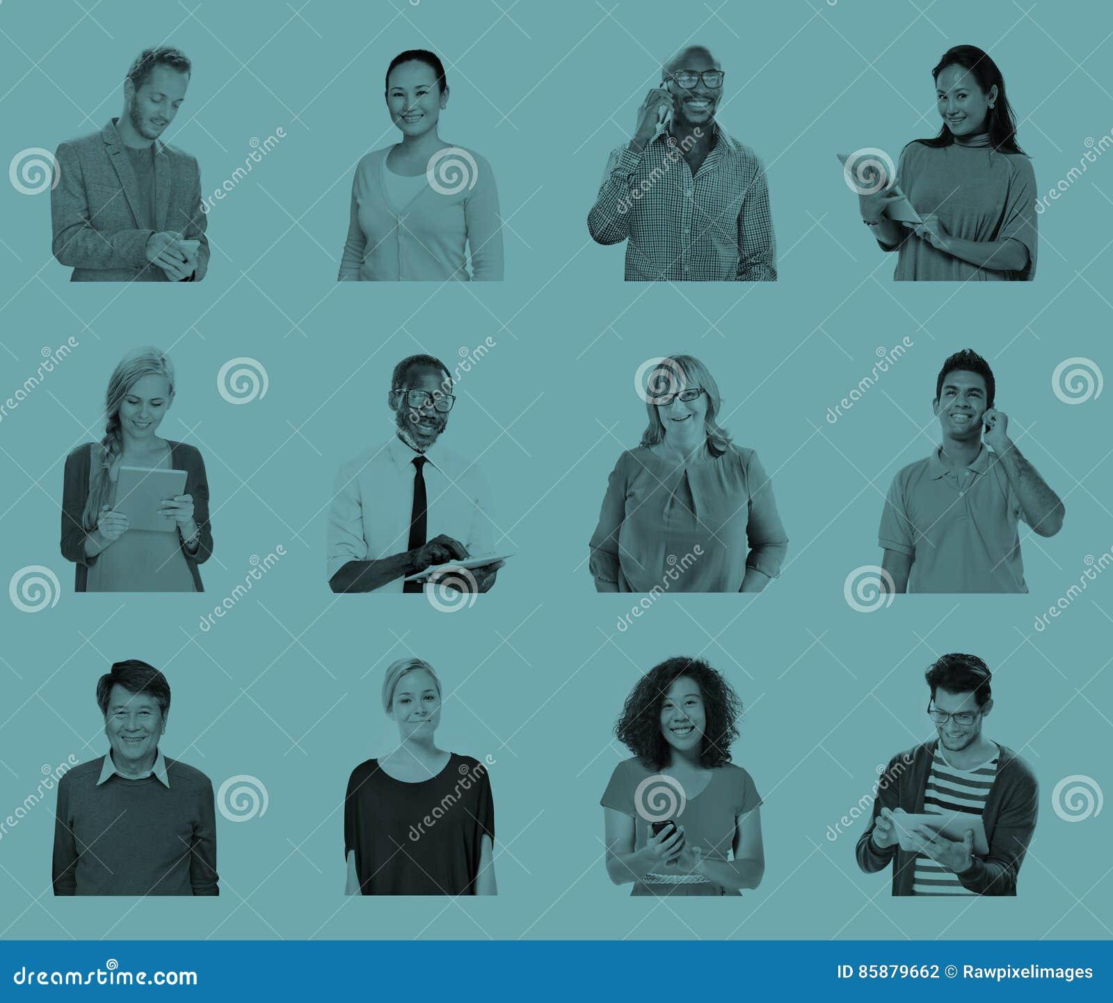 Concepto global de la tecnología de las comunicaciones de la gente diversa
