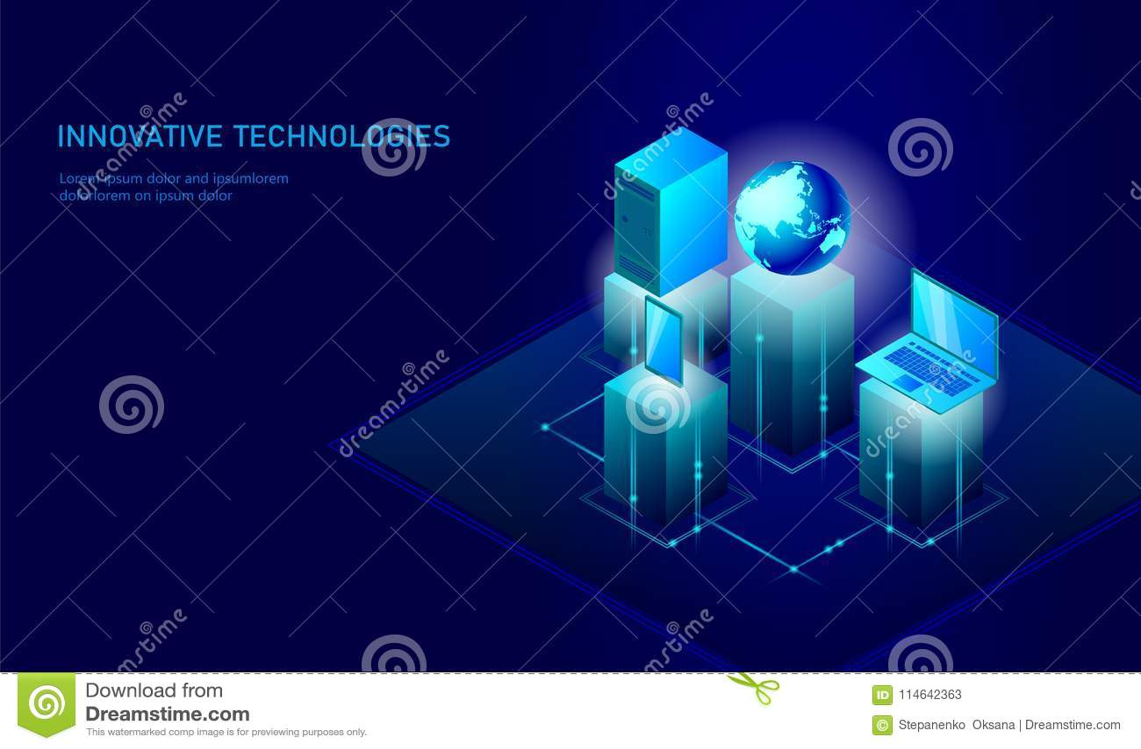 Concepto global isométrico del negocio de la tierra del planeta del establecimiento de una red Conexión de datos isométrica de la