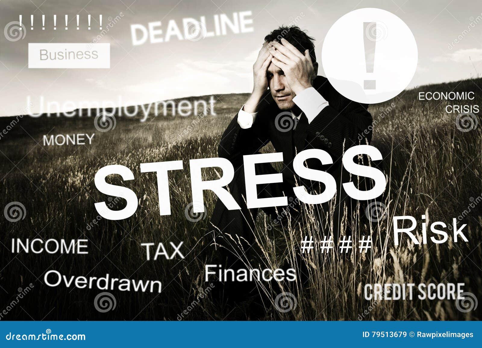 Concepto gráfico preocupante de la preocupación del problema de negocio