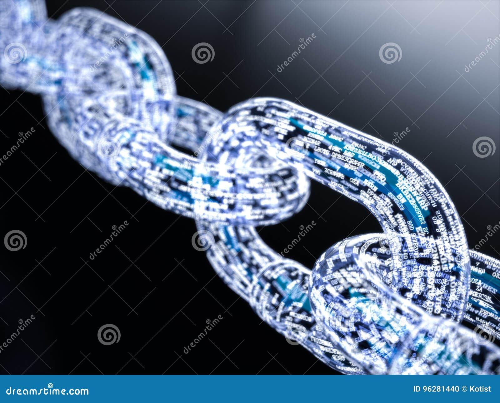 Concepto grande del blockchain de los datos
