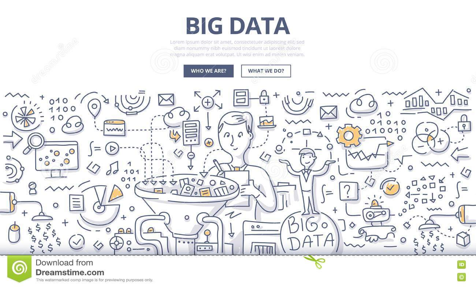 Concepto grande del garabato de los datos