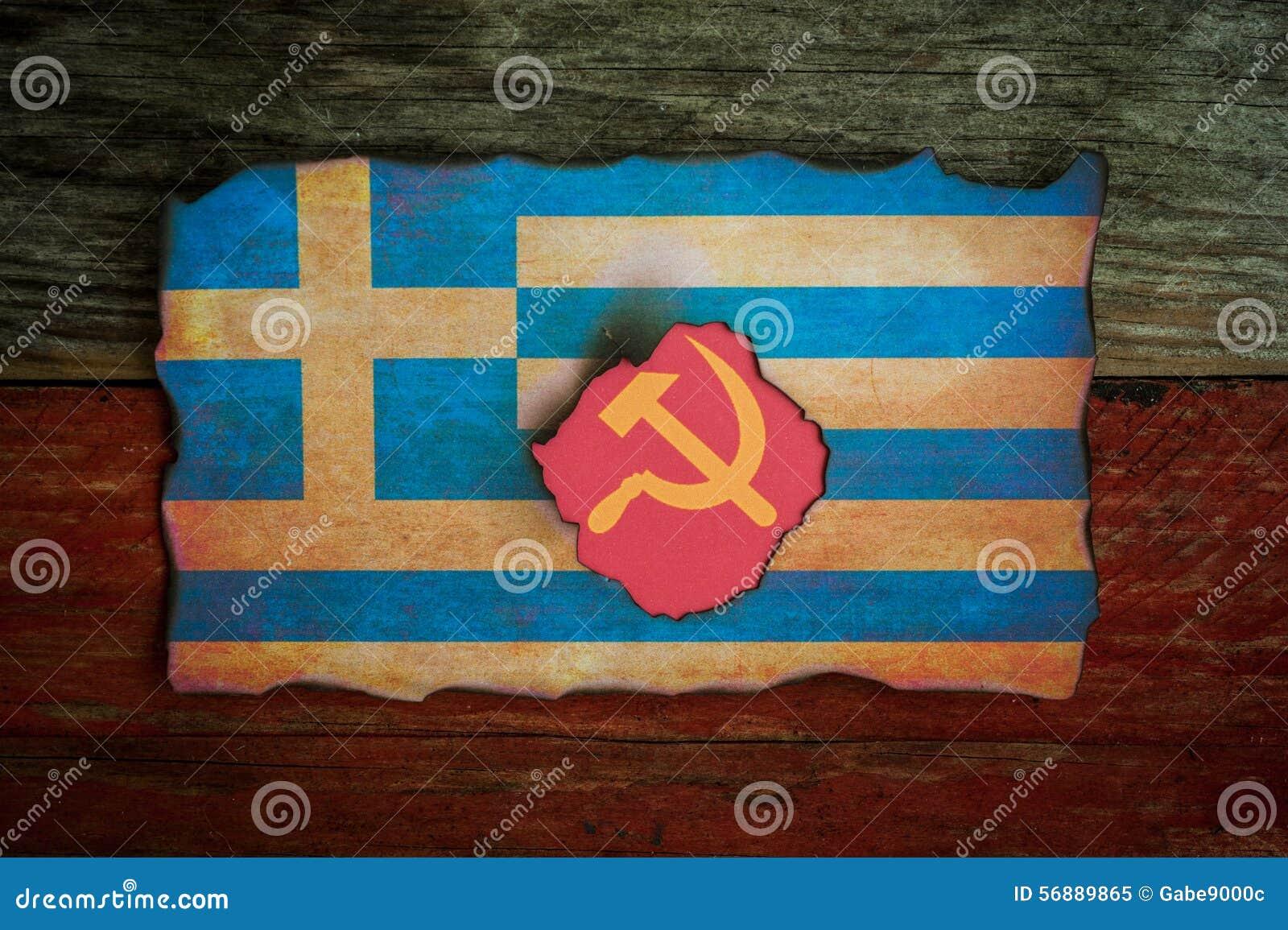 Concepto griego del comunista de la bandera