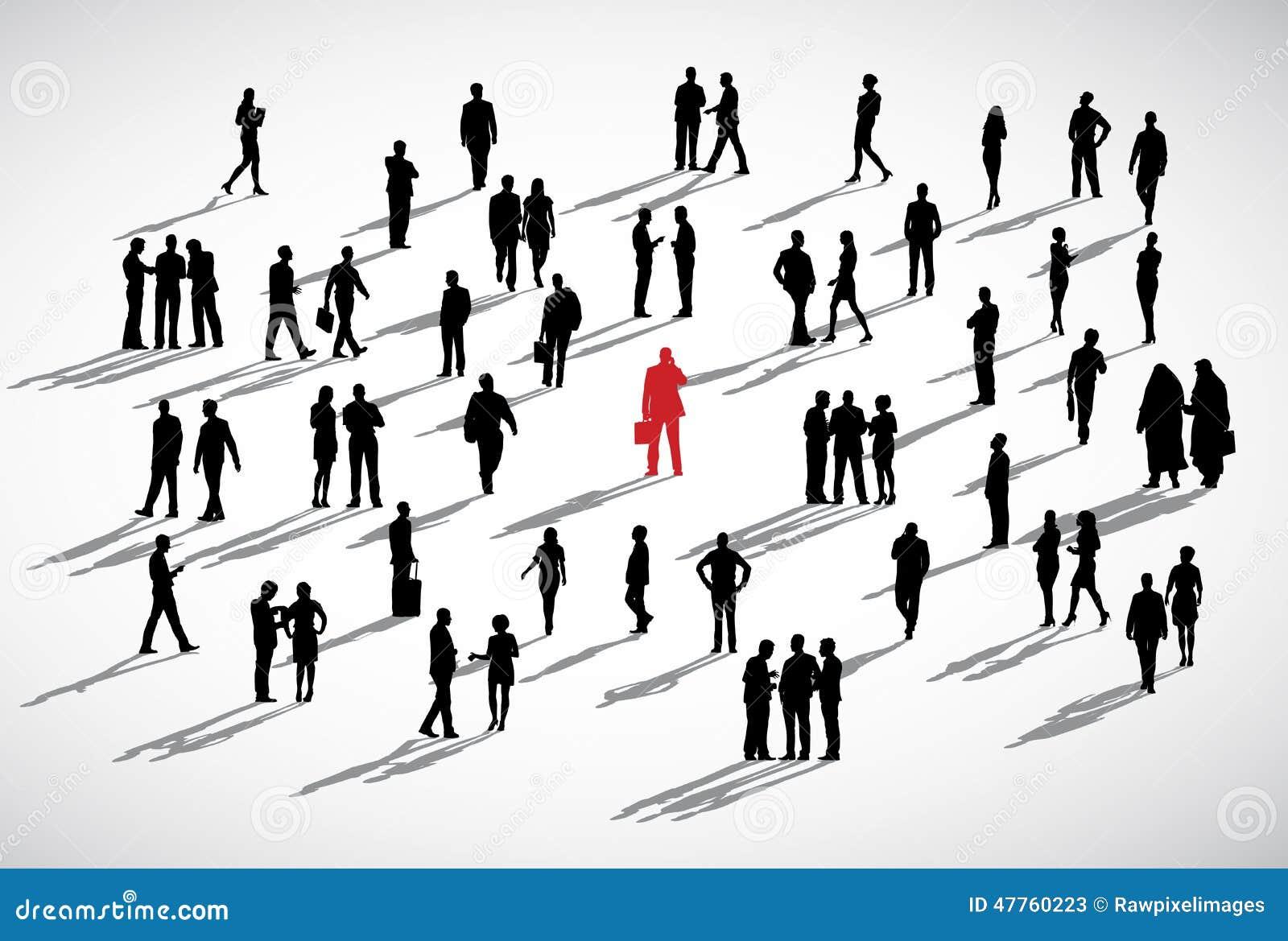 Concepto individual de Standing Crowd Business del hombre de negocios