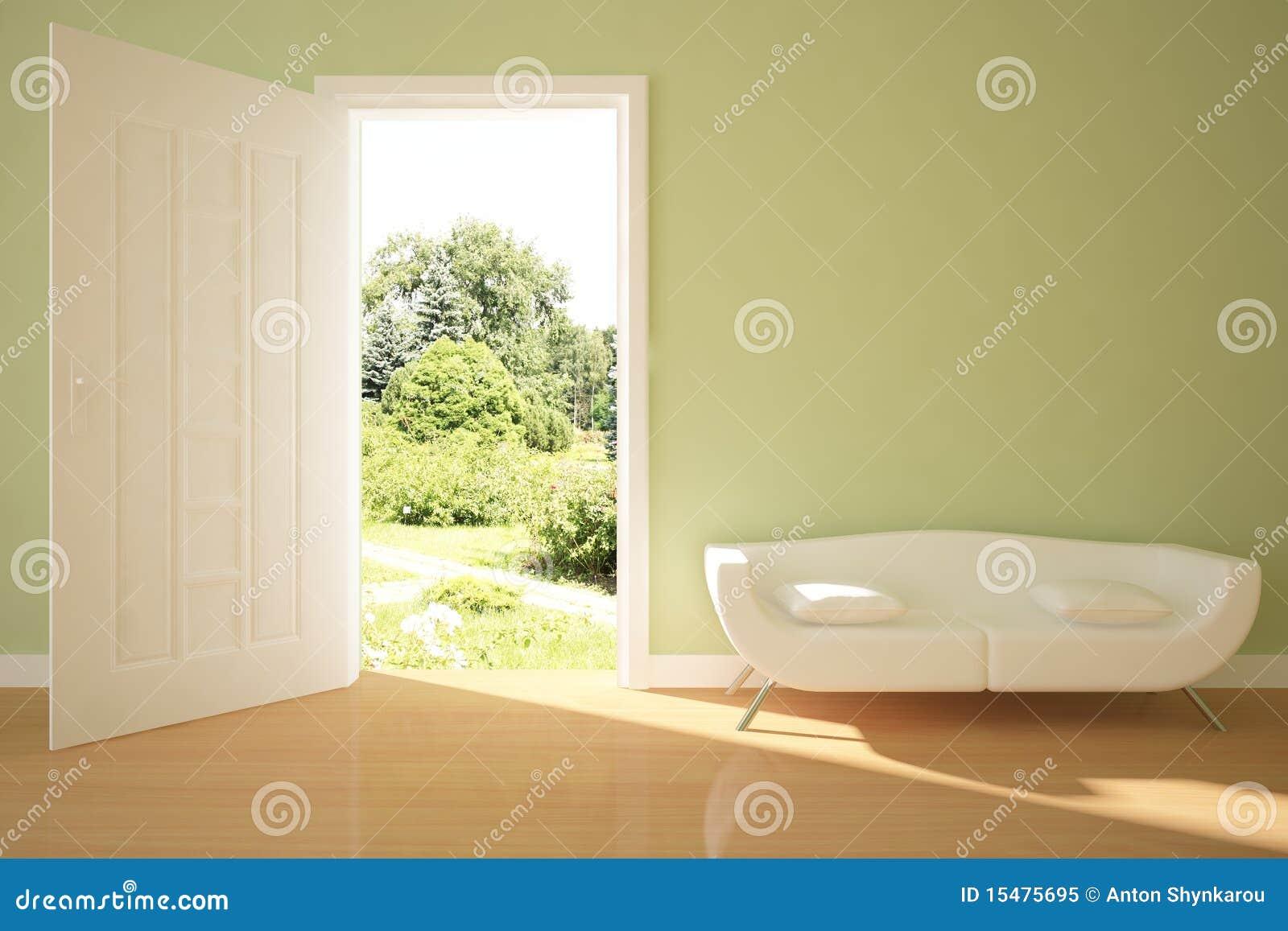 Concepto interior verde con la puerta abierta