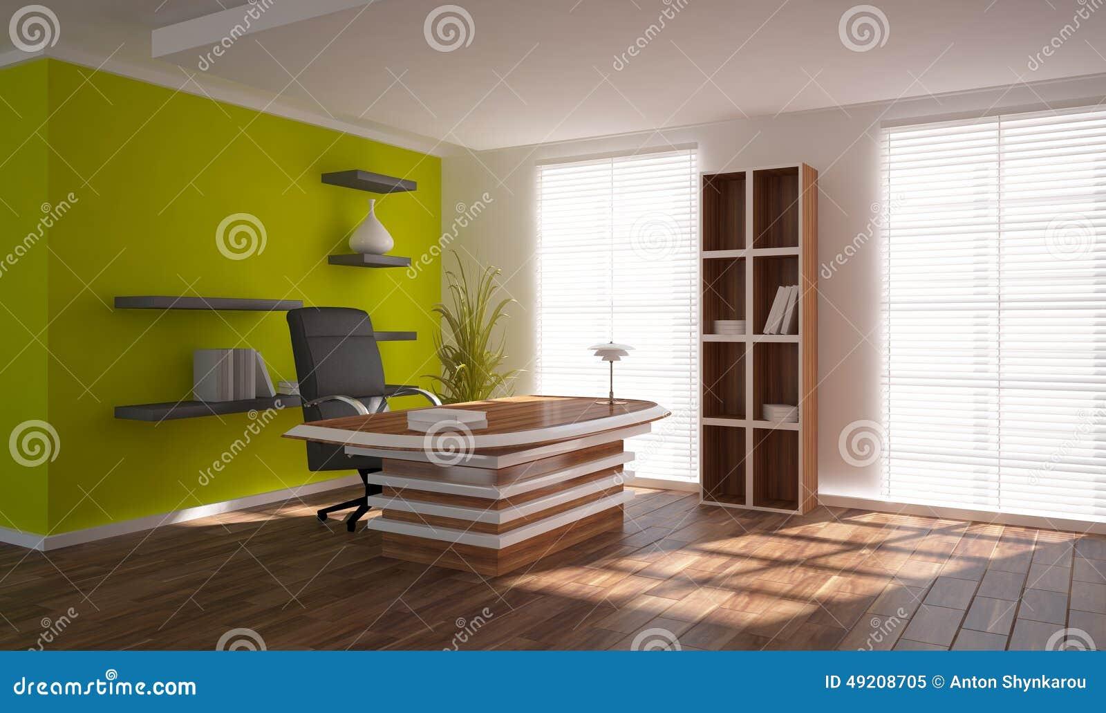 Concepto interior verde para el lugar de trabajo