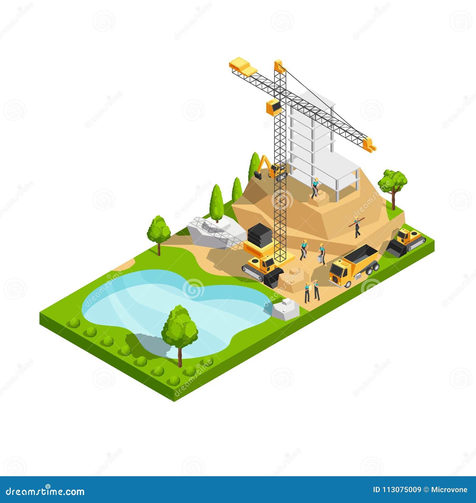 Concepto isométrico comercial del vector de la construcción de edificios 3d para el diseño del sitio de la arquitectura