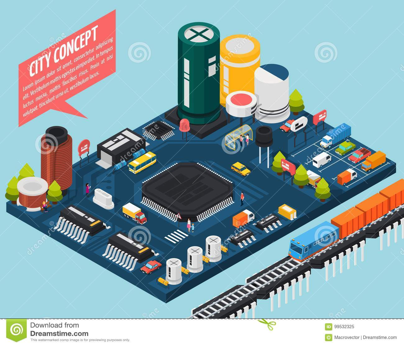 Concepto isométrico de la ciudad de los componentes electrónicos del semiconductor