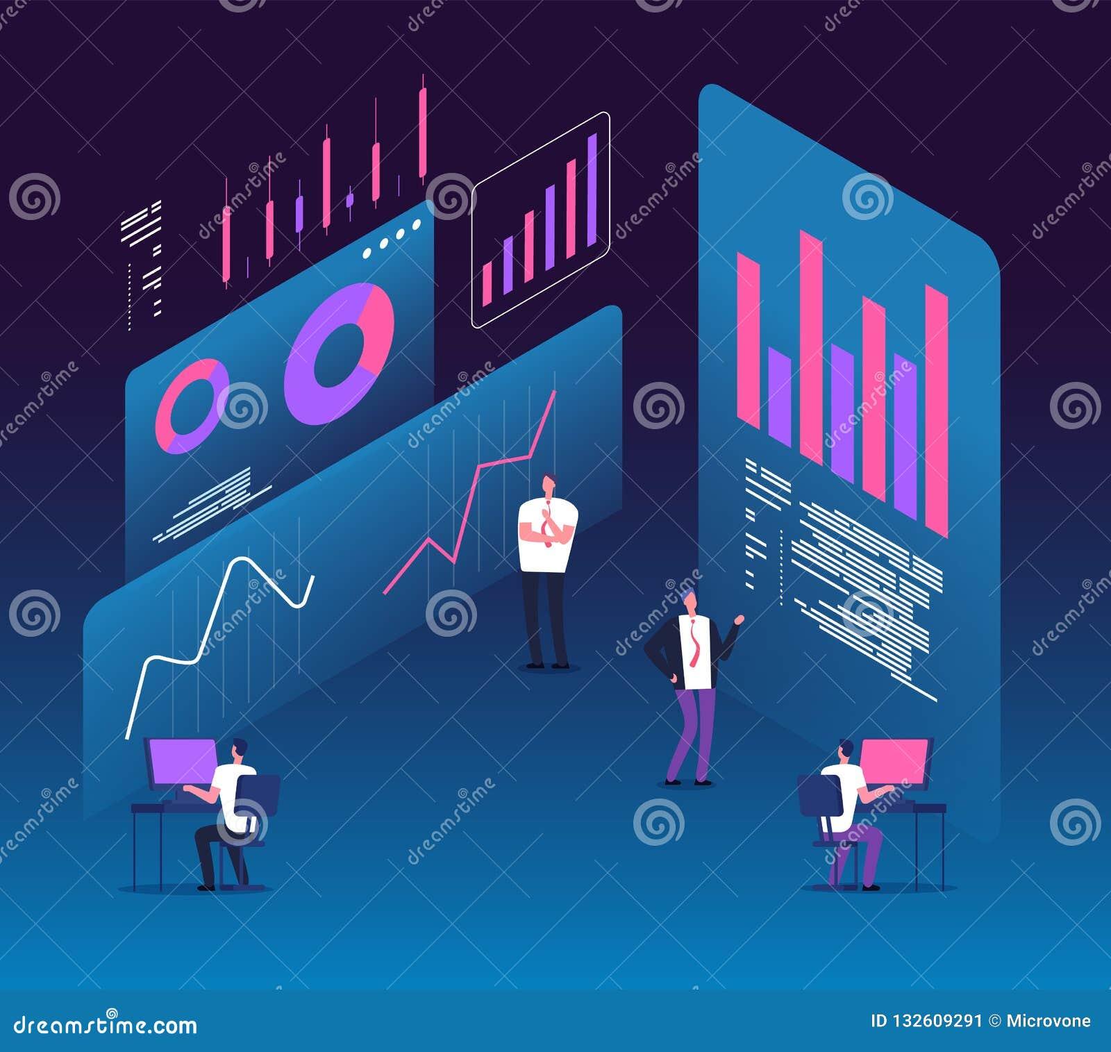 Concepto isométrico de la estrategia de inversión Gente con los diagramas de los datos del analytics Márketing 3d de la tecnologí