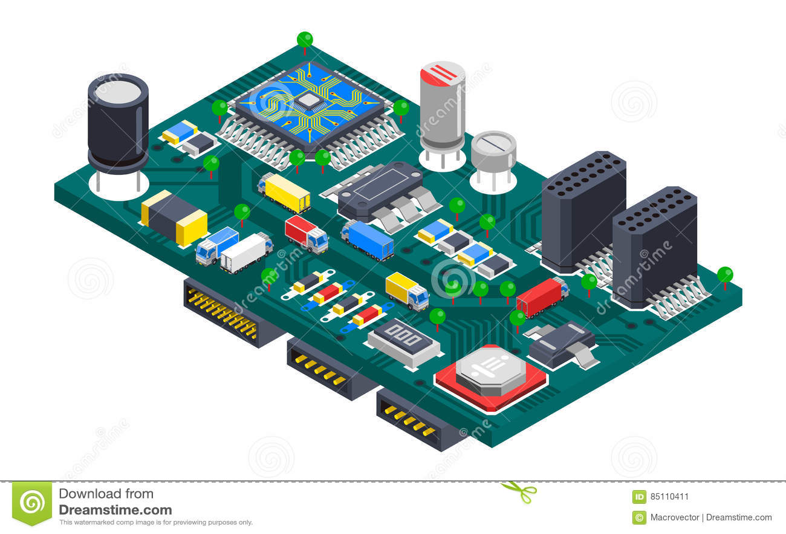 Concepto isométrico de la placa de circuito