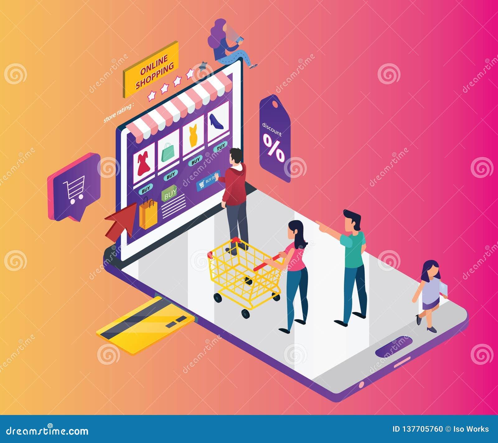Concepto isométrico de las ilustraciones de compras en línea a través del teléfono móvil
