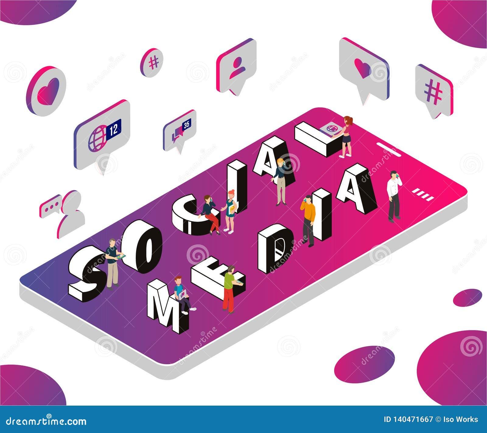 Concepto isométrico de las ilustraciones de márketing social de los medios para ayudar a negocio para crecer