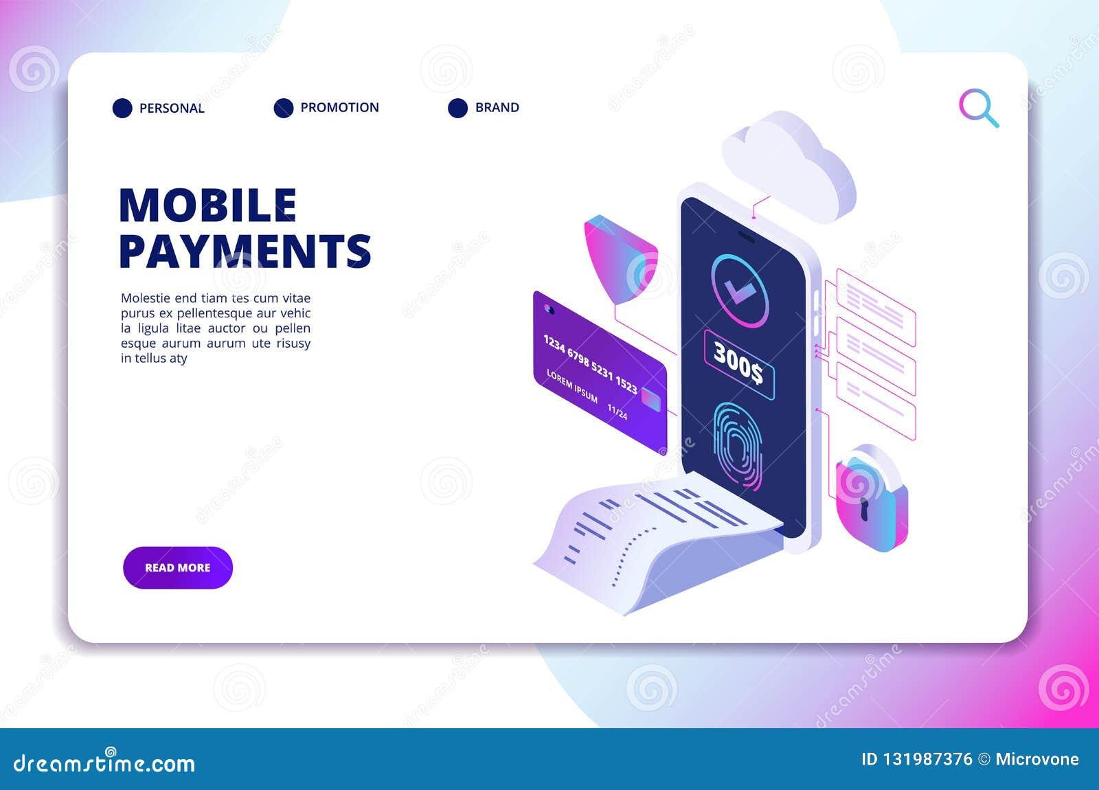 Concepto isométrico de los pagos móviles App seguro en línea del smartphone del pago Vector de la tecnología de Internet de las a