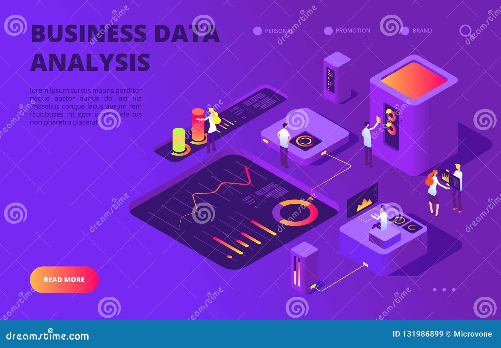 Concepto isométrico del análisis de datos La gente trabaja en la carta infographic, base de datos del tablero de instrumentos Vec